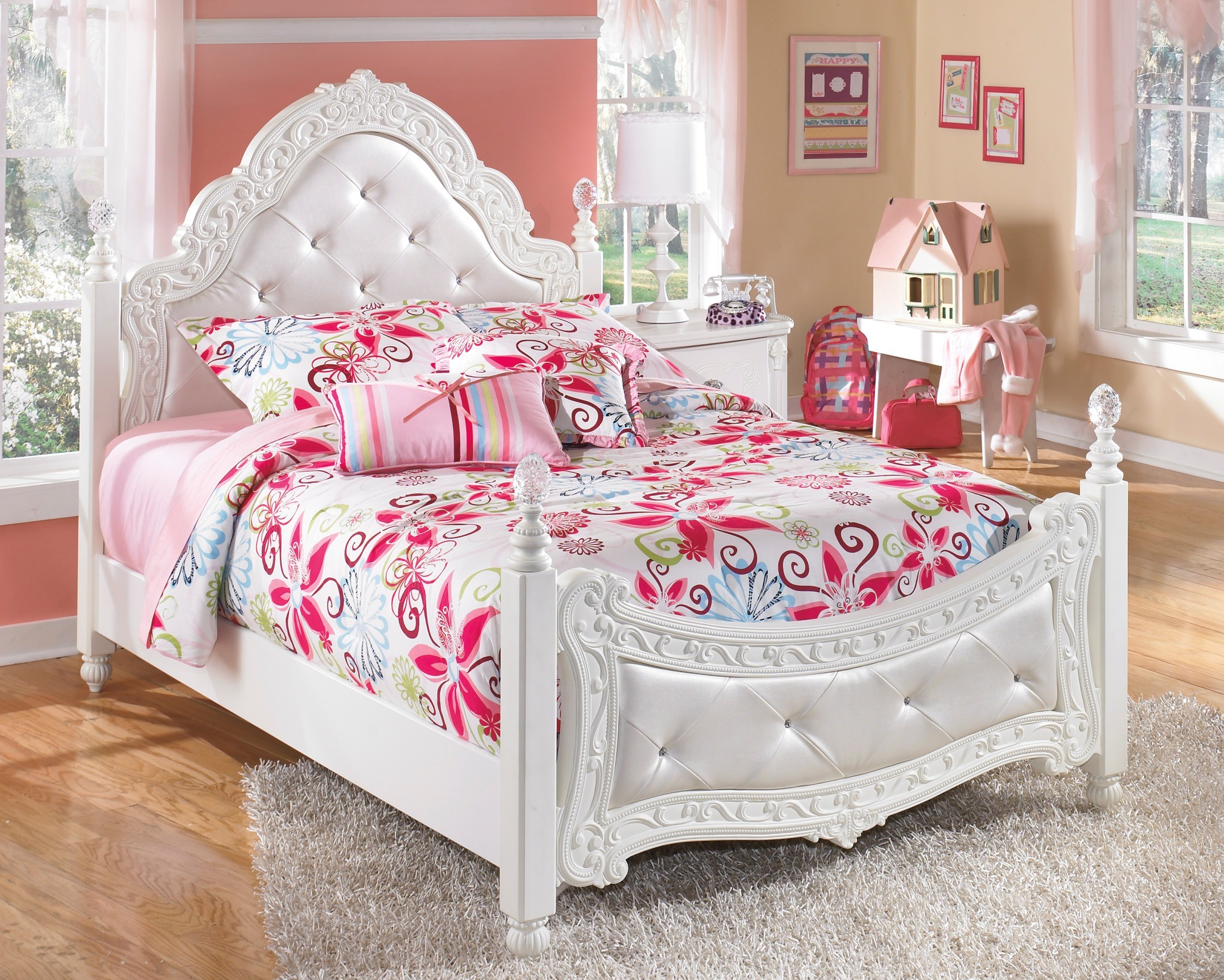 storage size bed ashley of girls elegant alyn white girl platform twin furniture