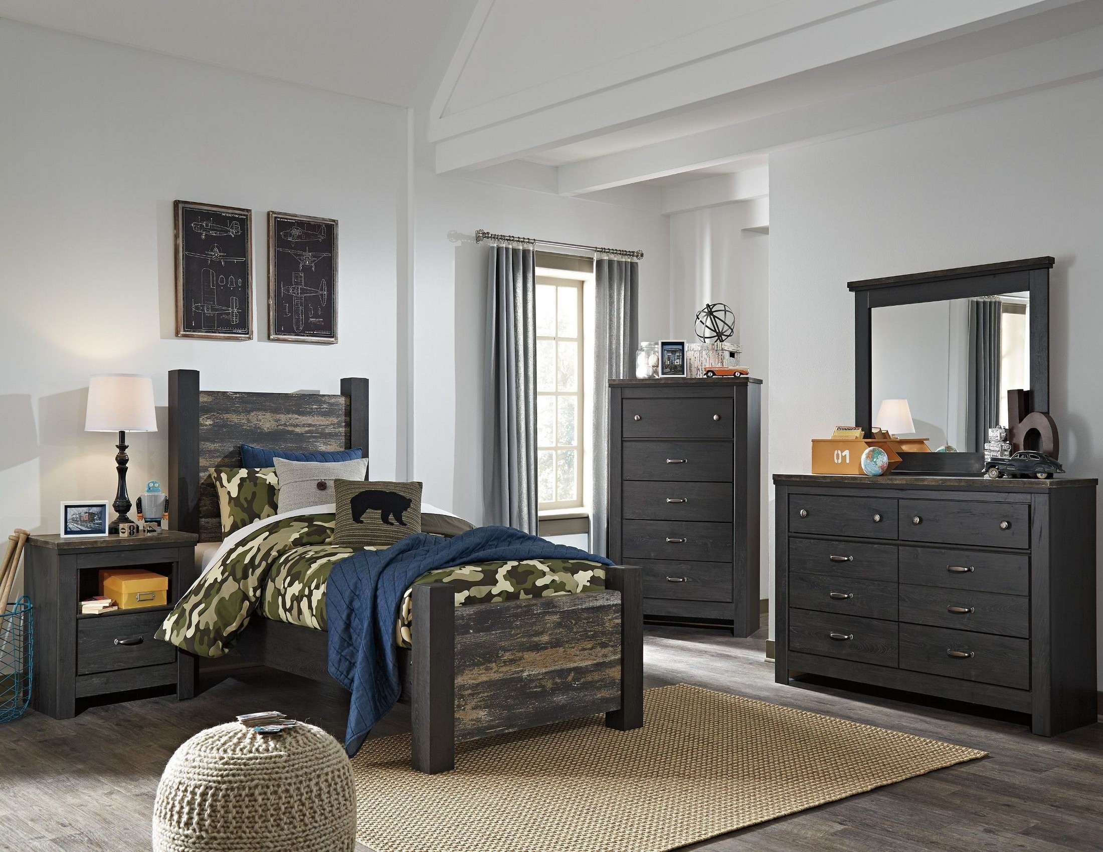 Westinton black and brown youth poster bedroom set from ashley coleman furniture for Black brown bedroom furniture