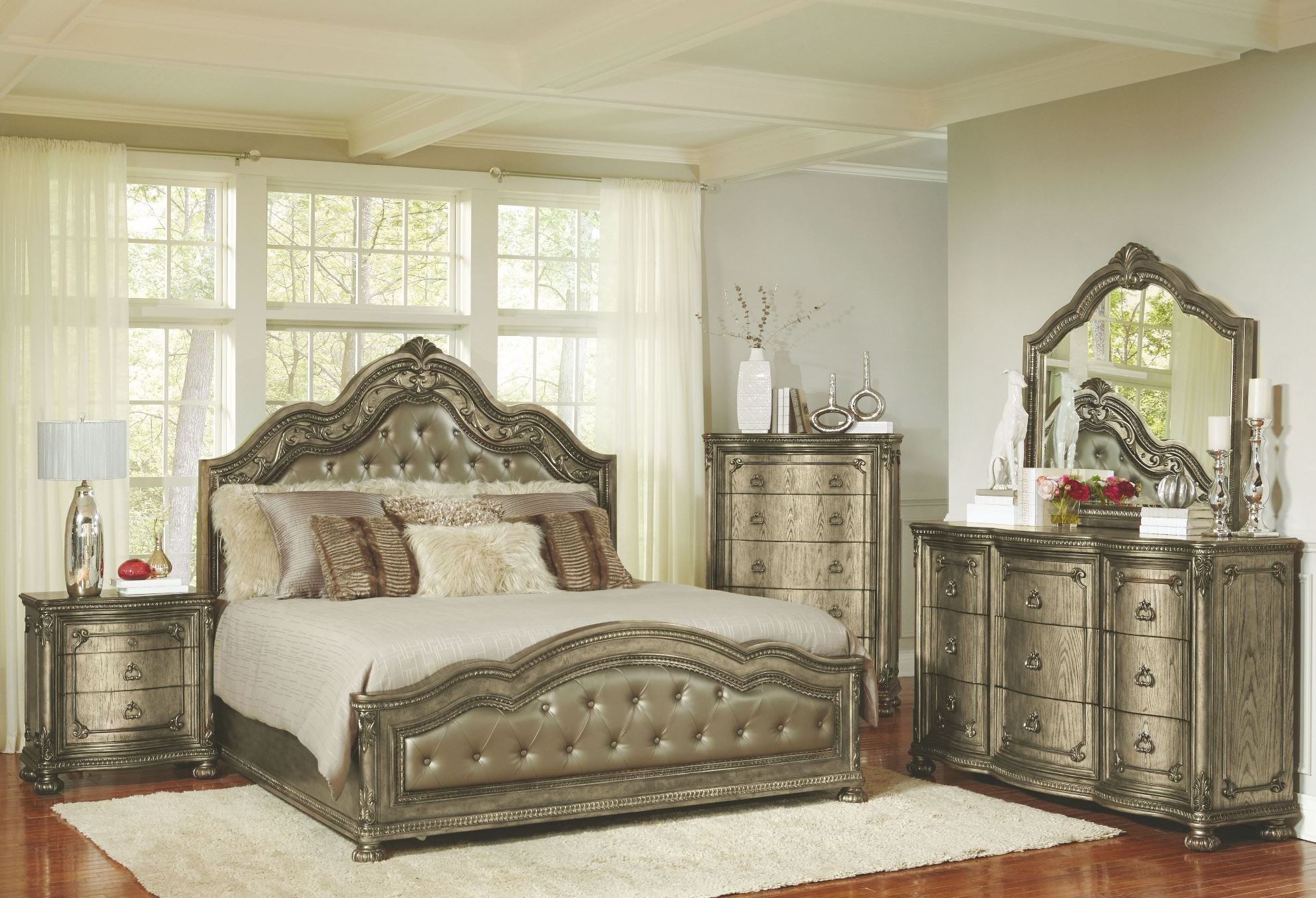 seville translucent platinum upholstered panel bedroom set