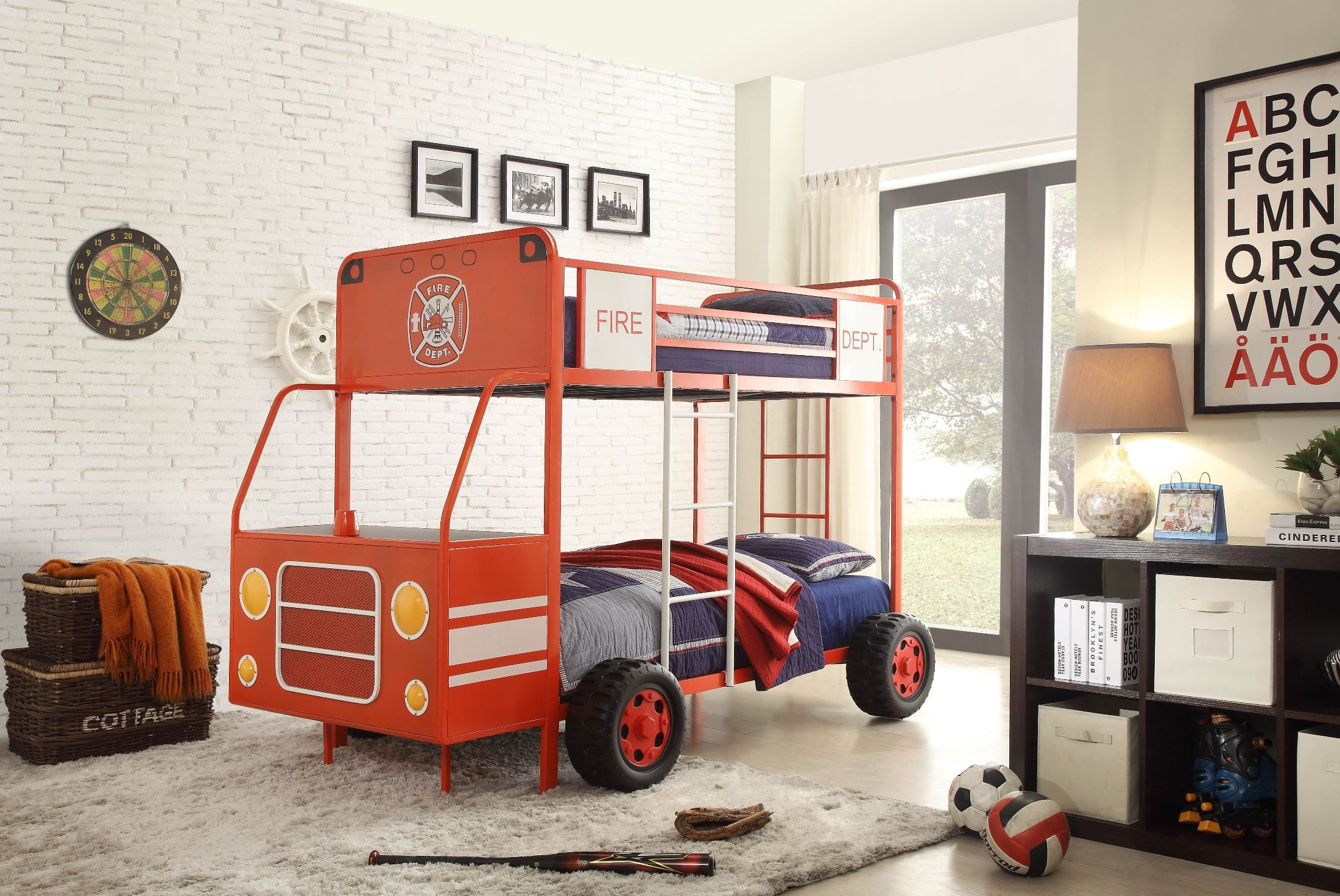 Engine One Red Fire Truck Twin Over Twin Bunk Bed From