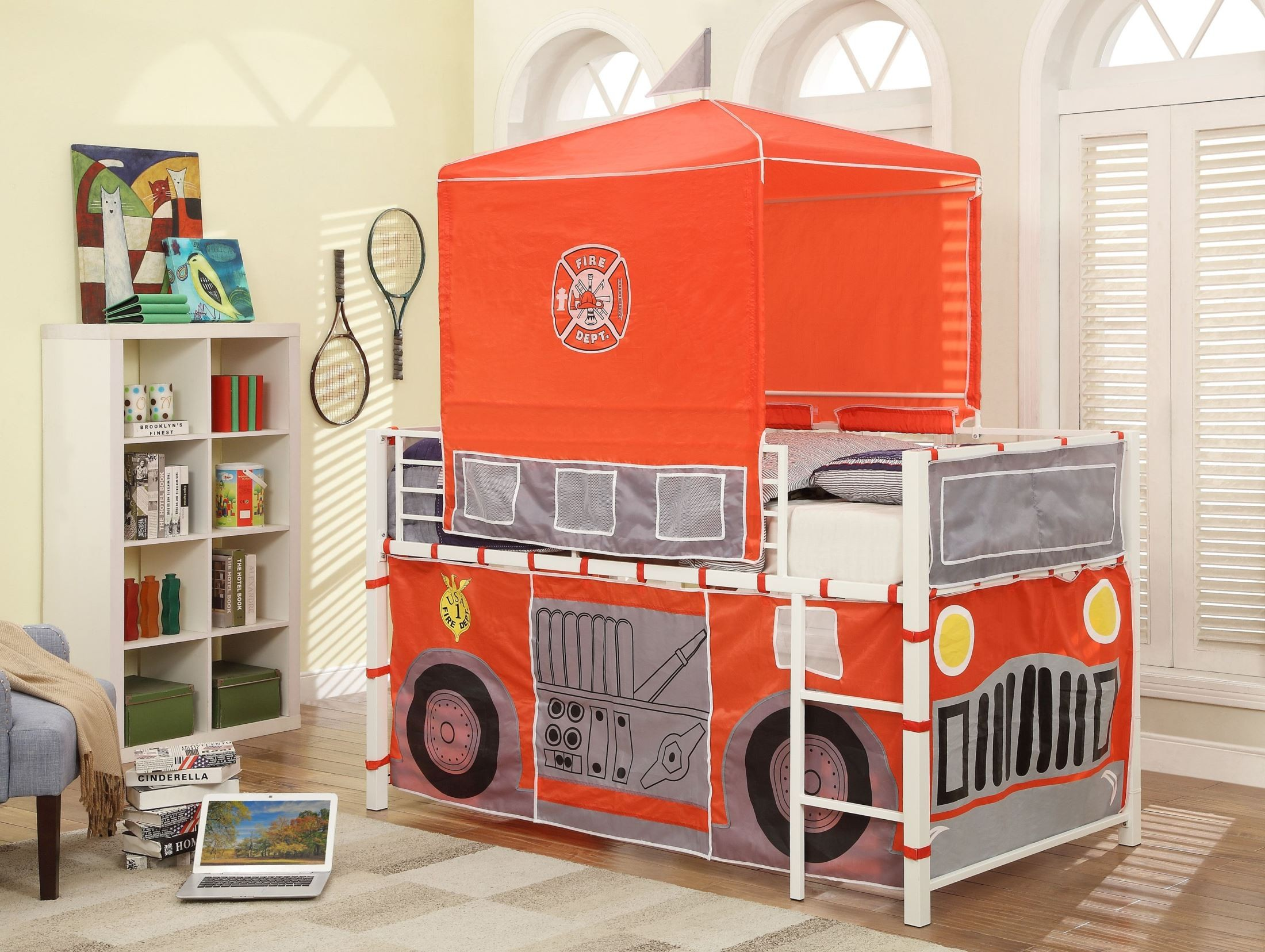 Combustion bright white fire truck loft bed from homelegance b2028 1 coleman furniture - Ikea fire truck bed ...