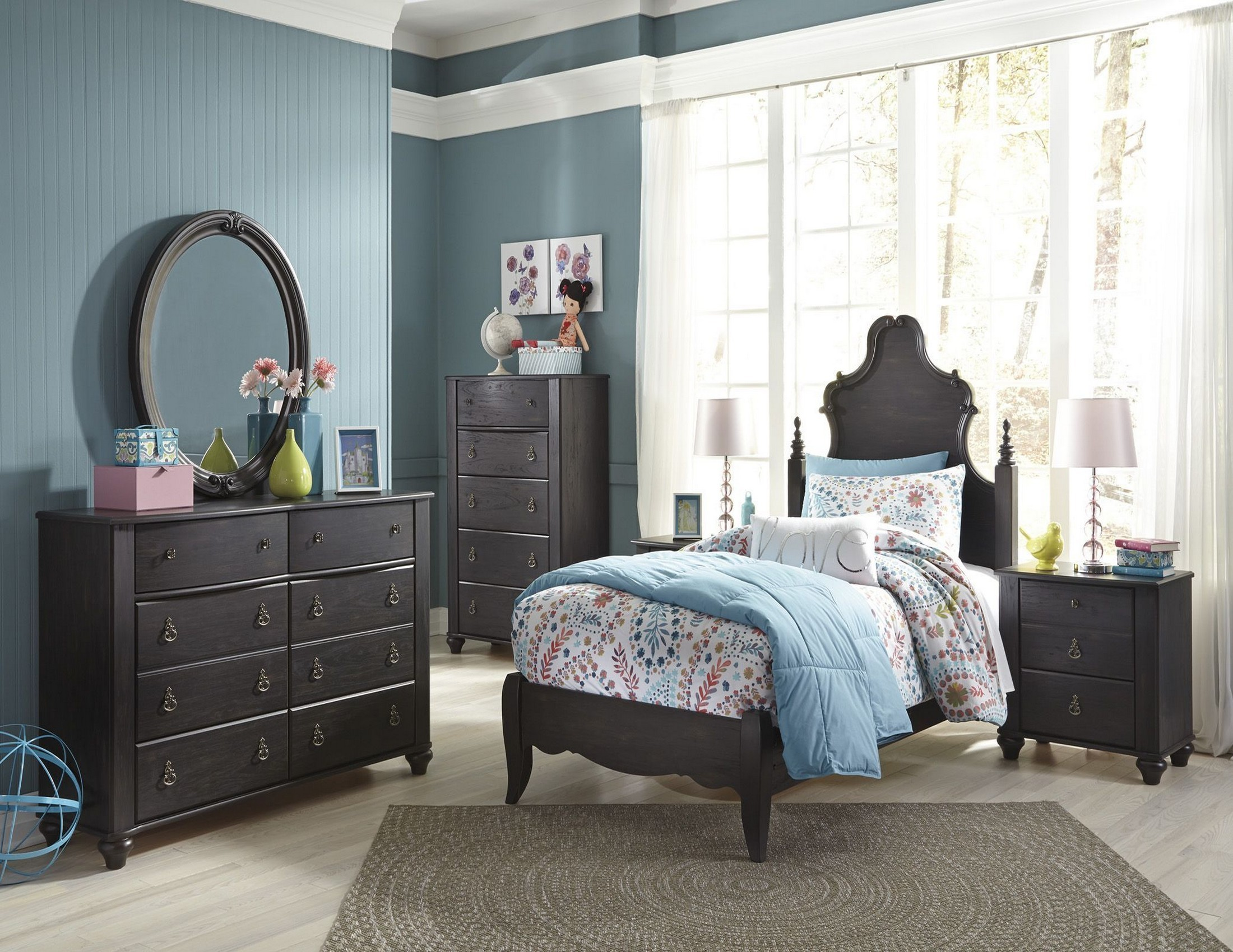 Corilyn dark brown youth poster bedroom set from ashley coleman furniture for Black brown bedroom furniture