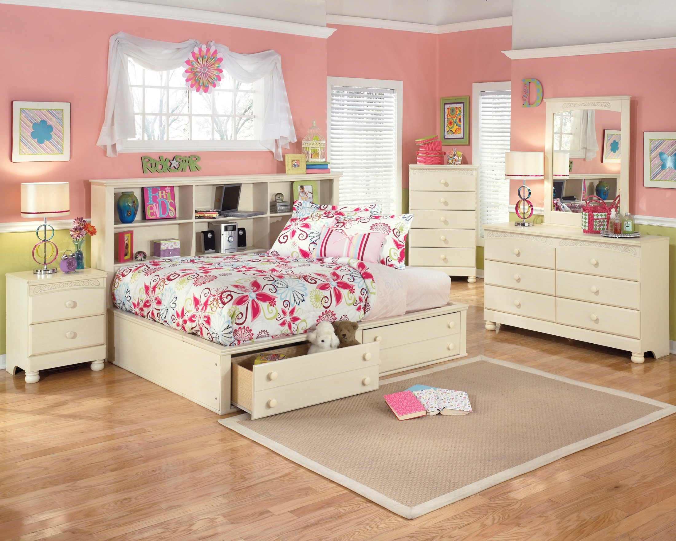 Cottage retreat youth bedside storage bedroom set from for Cottage retreat ii