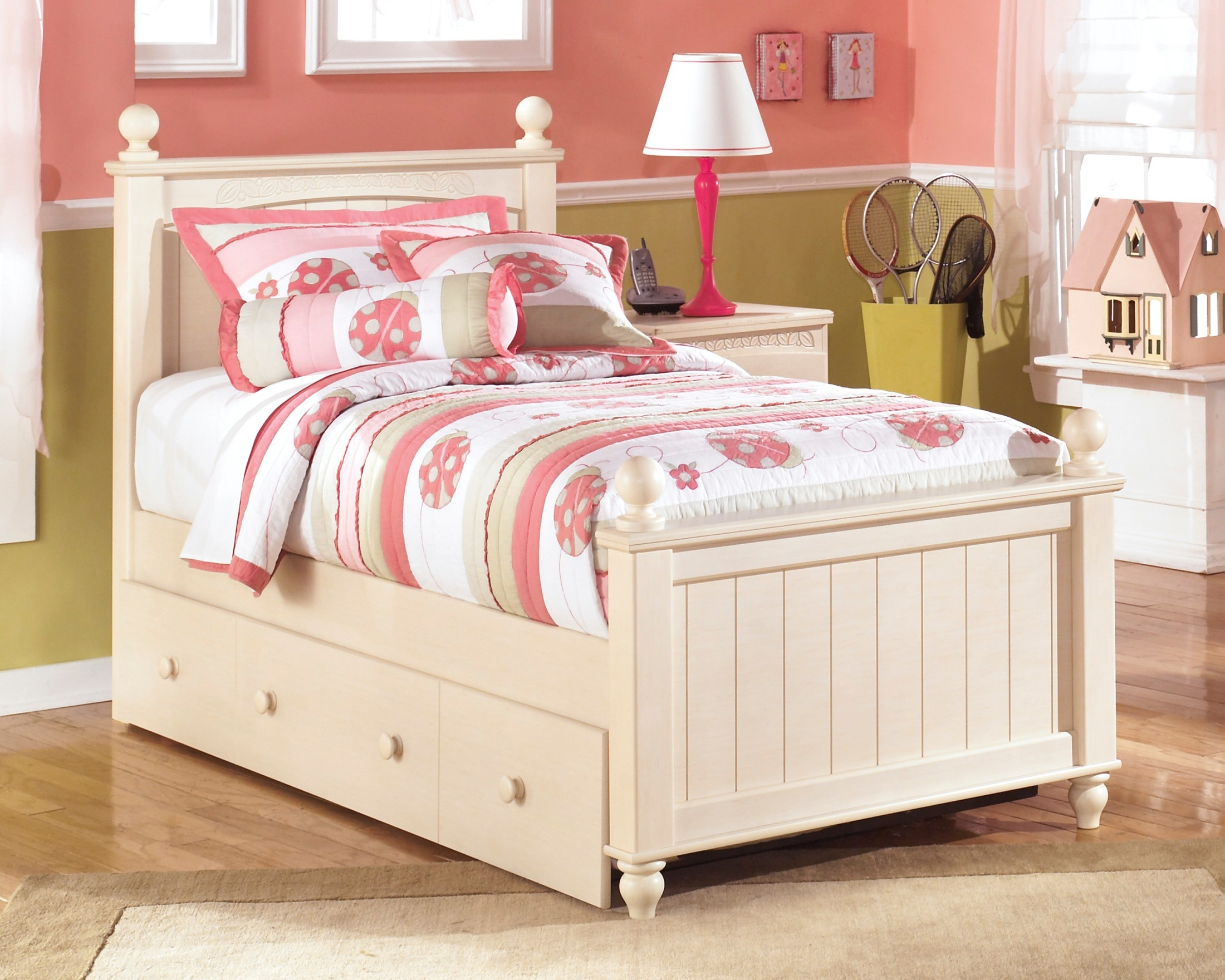 Cottage retreat twin poster bed with twin trundle from ashley coleman furniture White twin trundle bedroom set