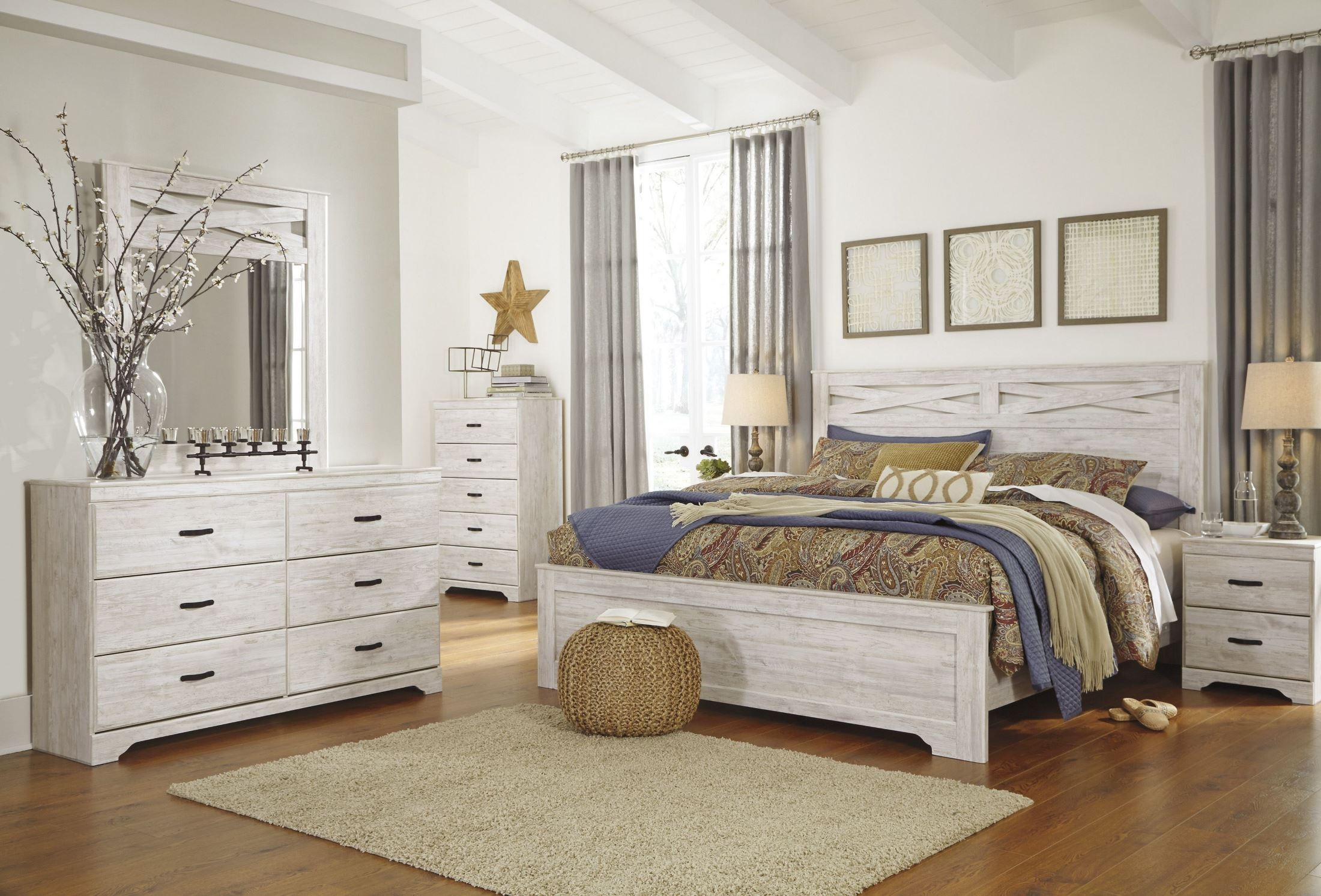 Briartown Whitewash King Panel Bed from Ashley | Coleman Furniture