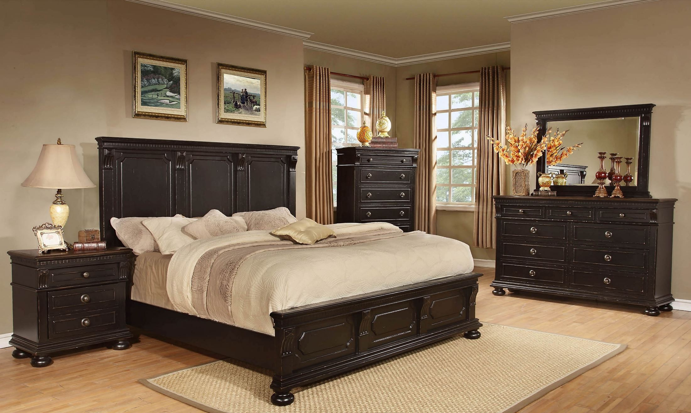 Vintage Bedroom Furniture Sets: Rivington Hall Antique Black Panel Bedroom Set, B00218-5H
