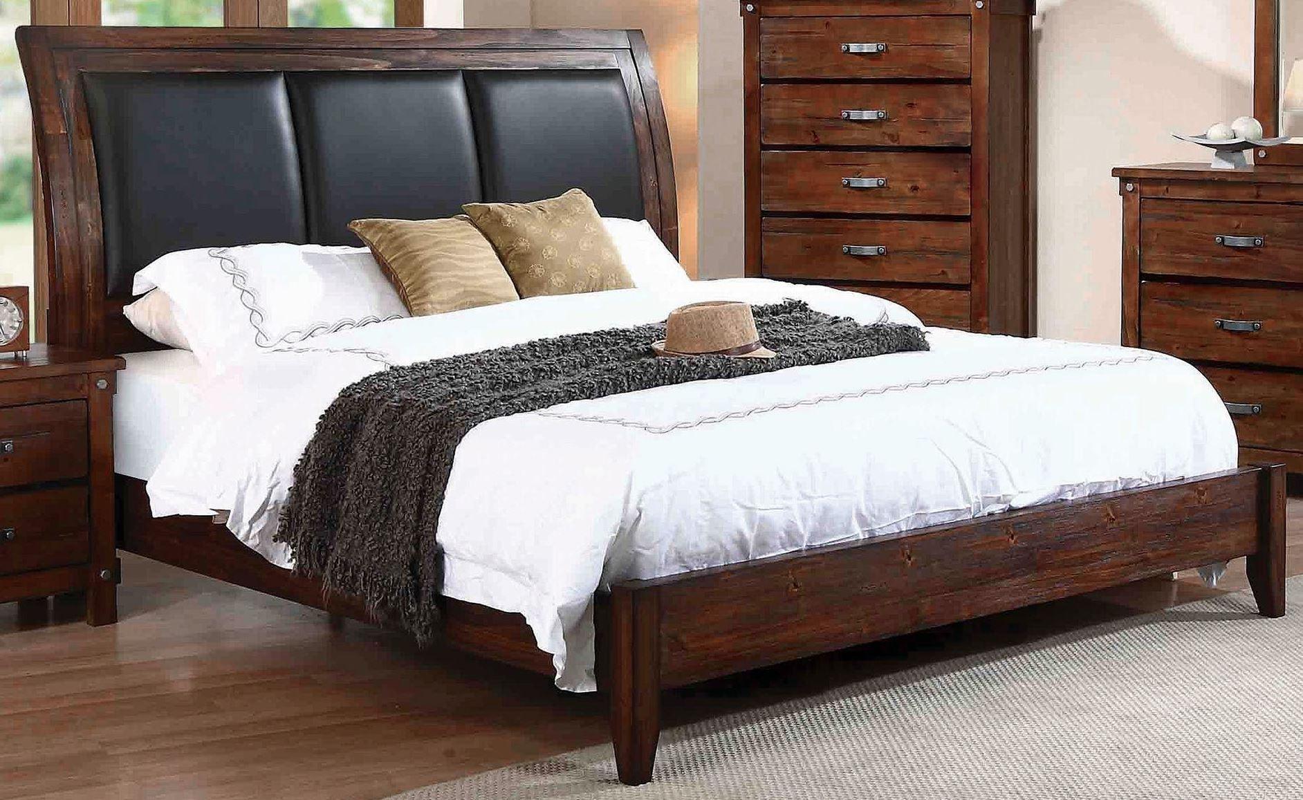 noble rustic oak queen platform bed from coaster  coleman