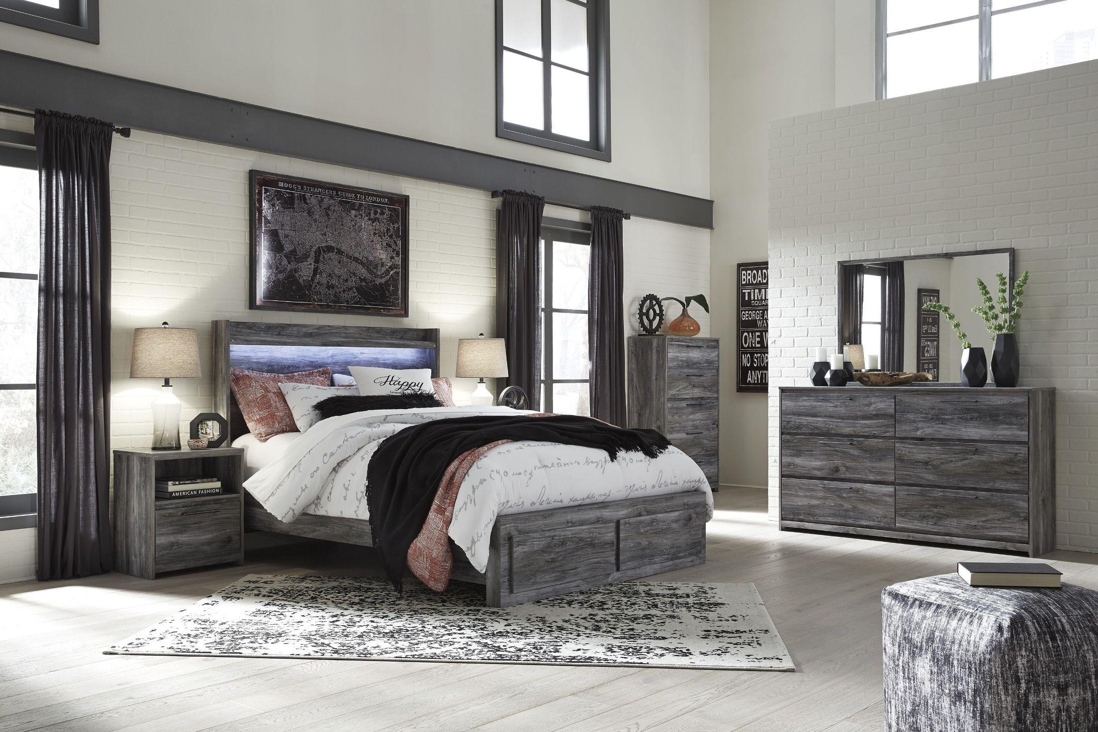 baystorm gray queen platform storage bed