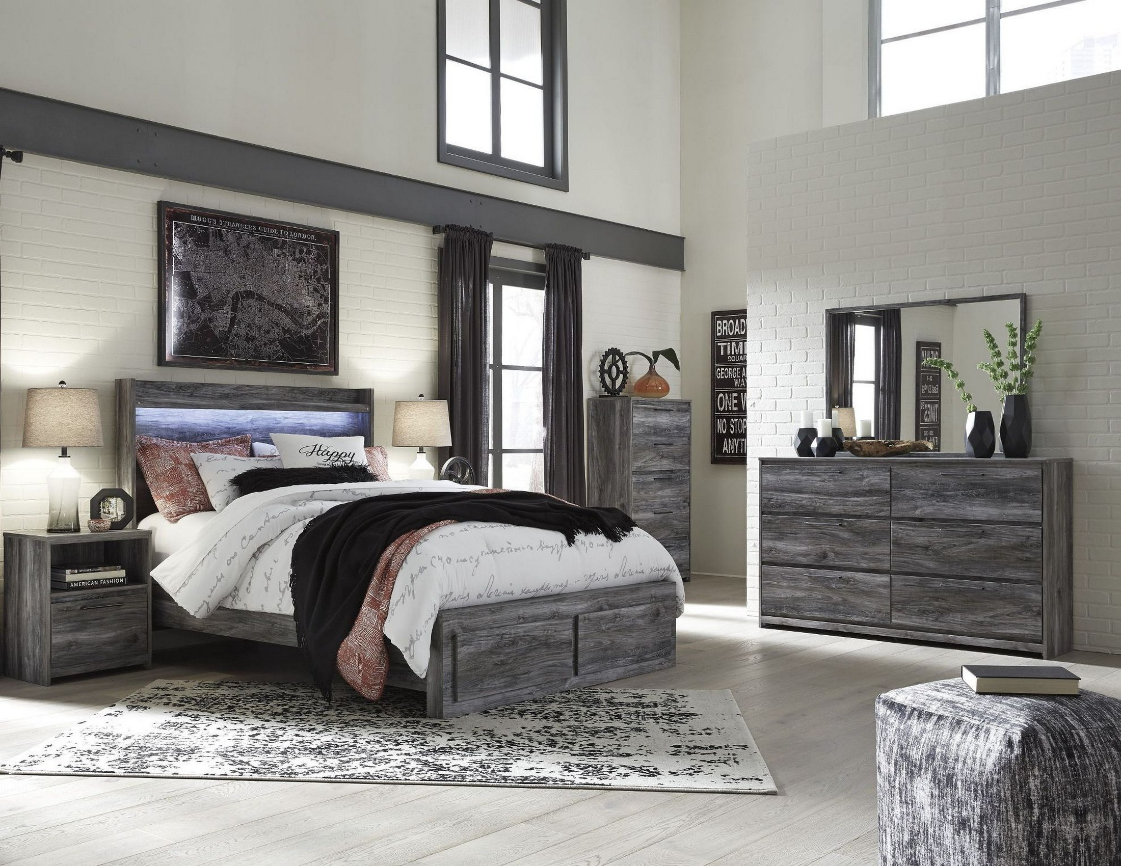 Baystorm gray platform storage bedroom set from ashley for Gray bedroom furniture sets