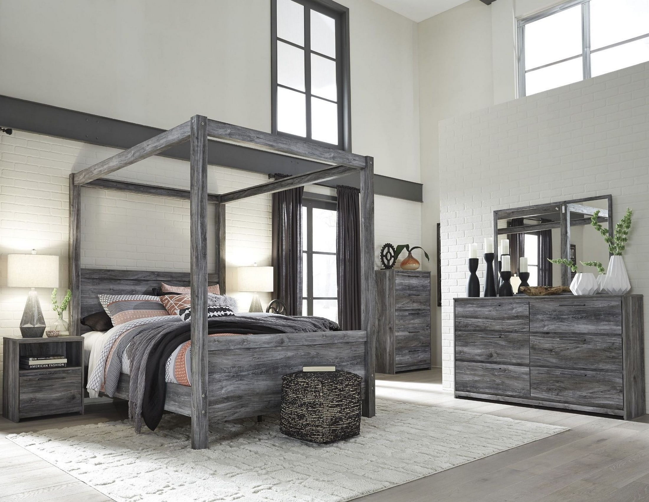 new concept f828e 69f88 Baystorm Gray Poster Canopy Bedroom Set