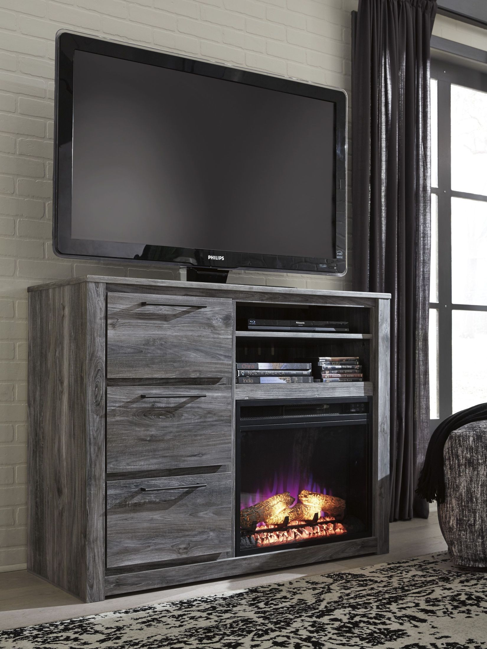 baystorm gray media chest with fireplace insert from ashley
