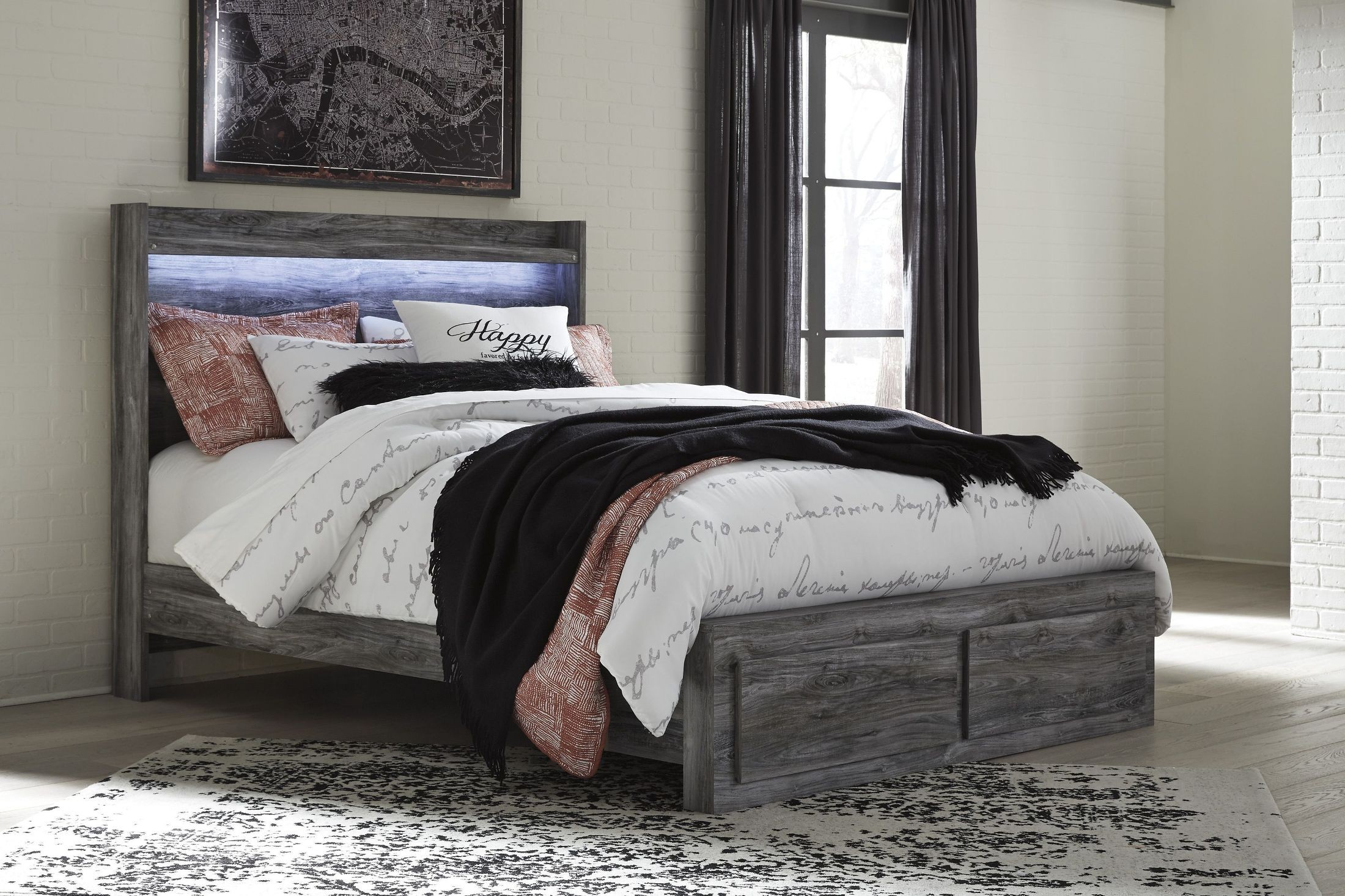 Baystorm Gray Queen Platform Storage Bed From Ashley