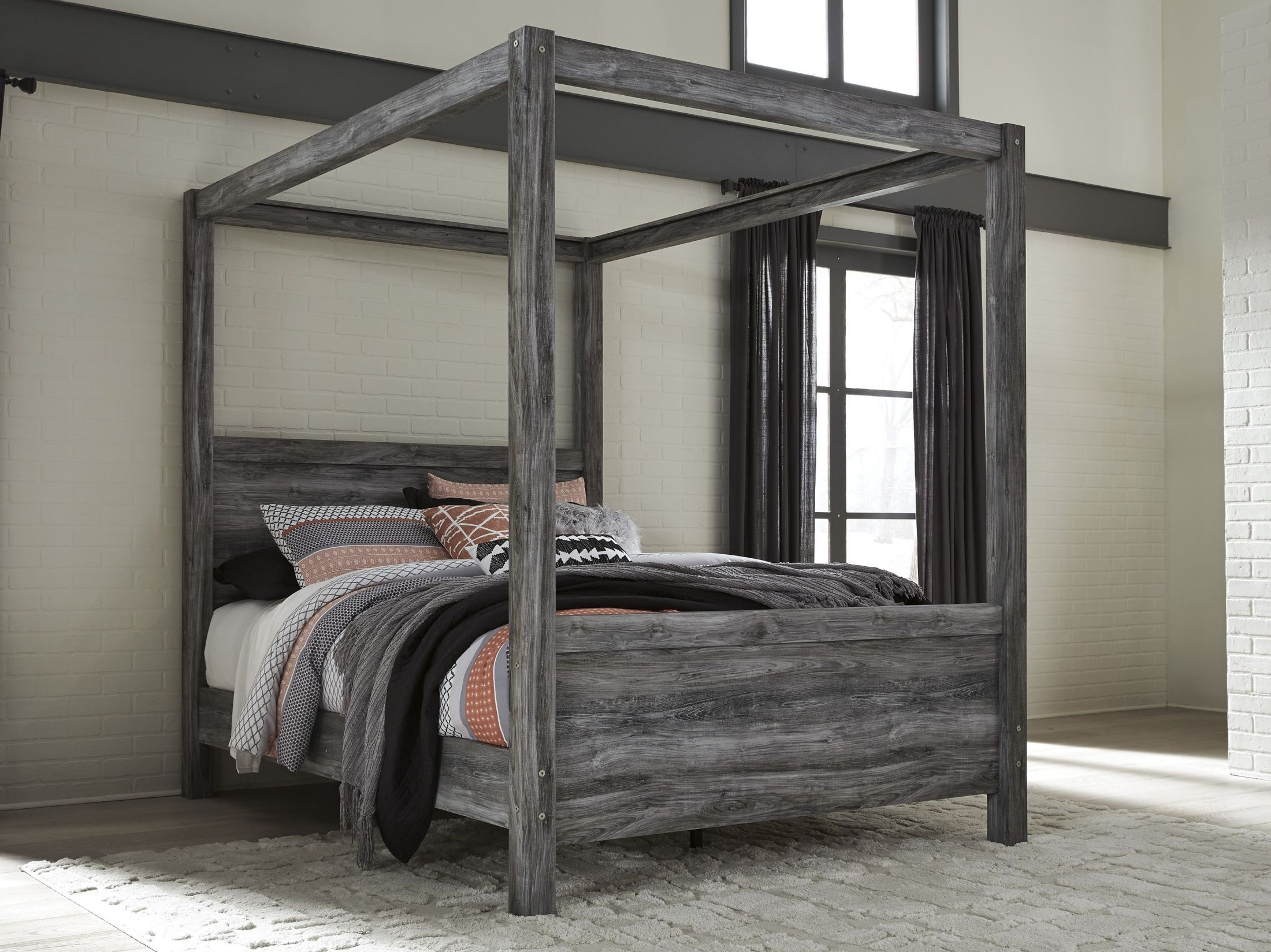 Baystorm Gray Queen Canopy Bed From Ashley Coleman Furniture