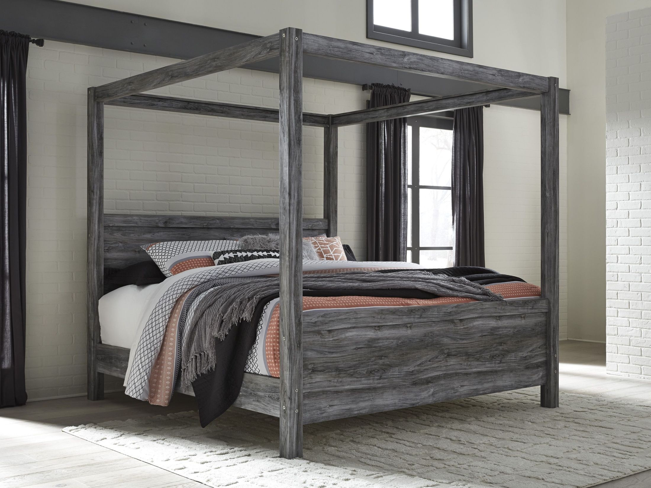 Baystorm Gray King Canopy Bed & Baystorm Gray King Canopy Bed from Ashley | Coleman Furniture