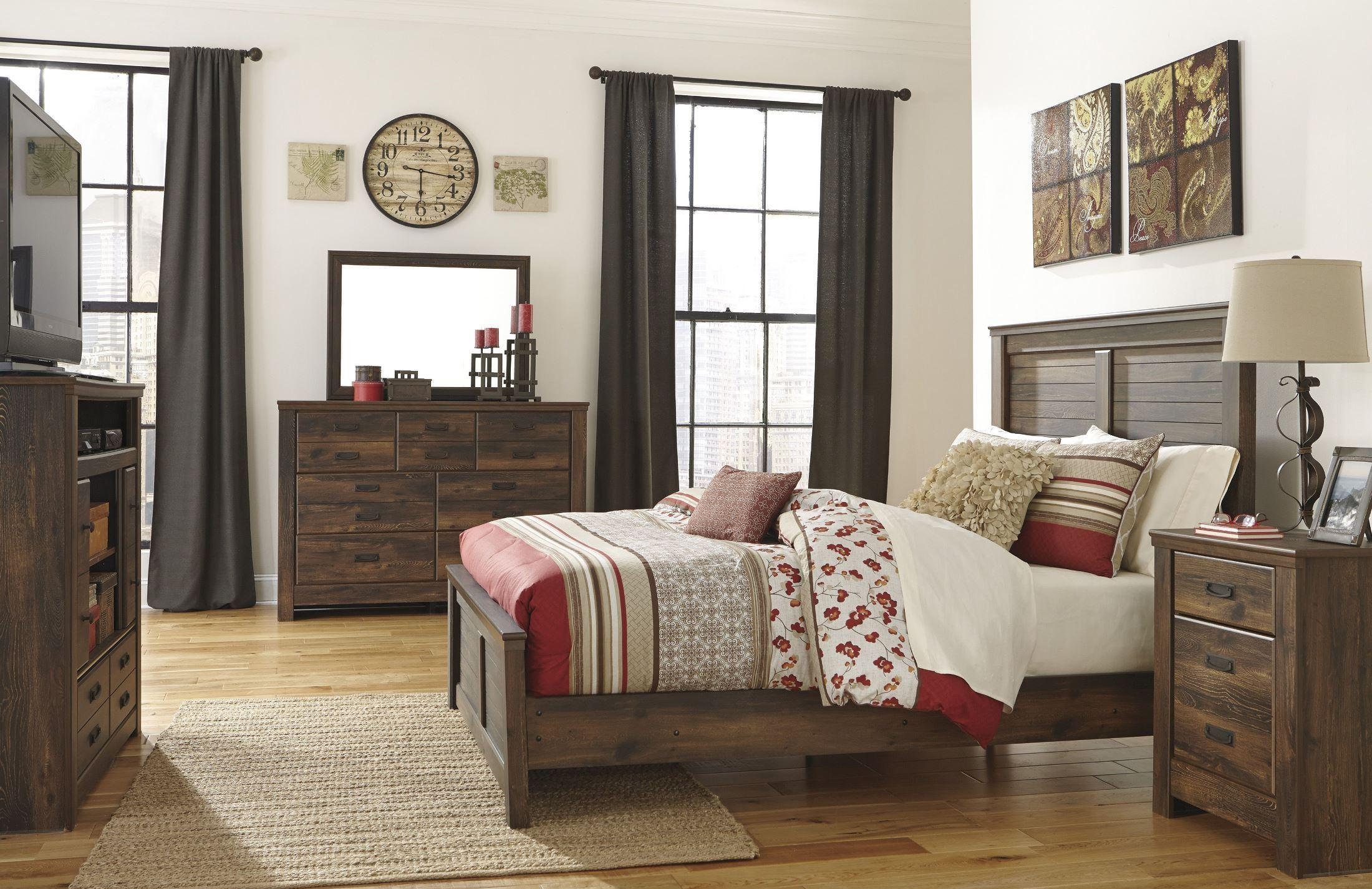 quinden panel bedroom set from ashley (b246-57-54-98) | coleman