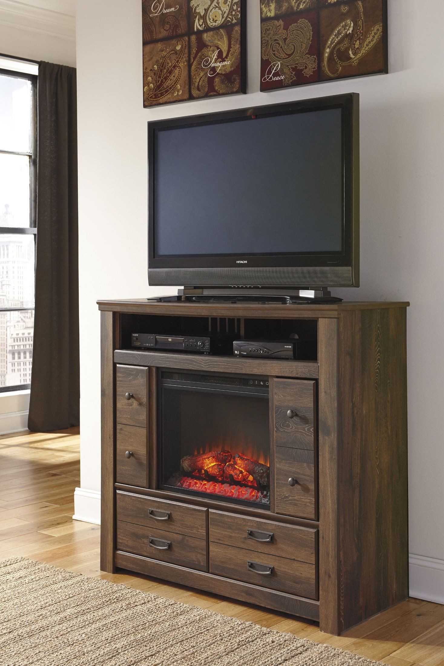 Quinden media chest with infrared fireplace insert from for Fireplace insert options