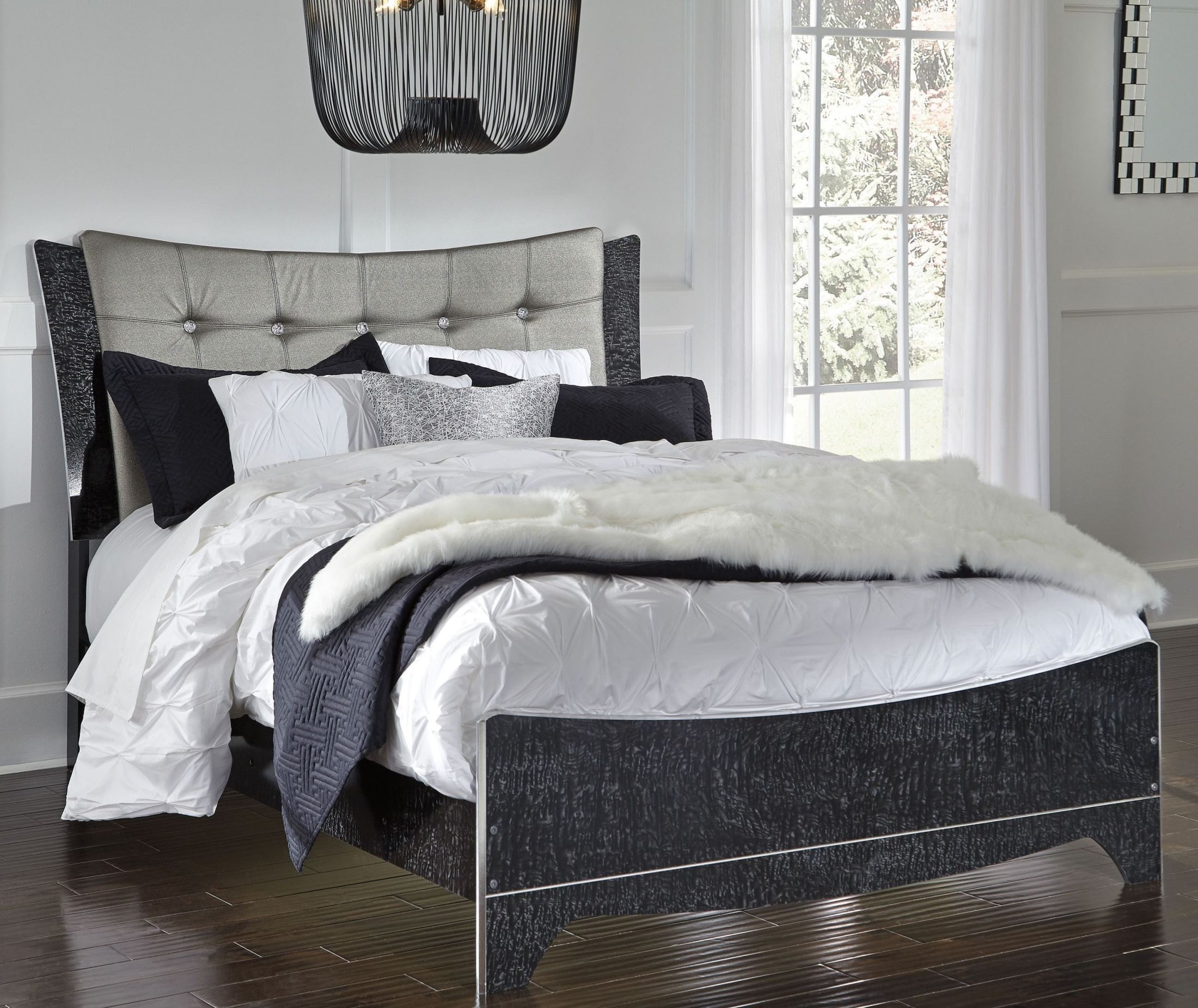 Amrothi black queen panel bed from ashley coleman furniture - Queen bed ideas for small room ...