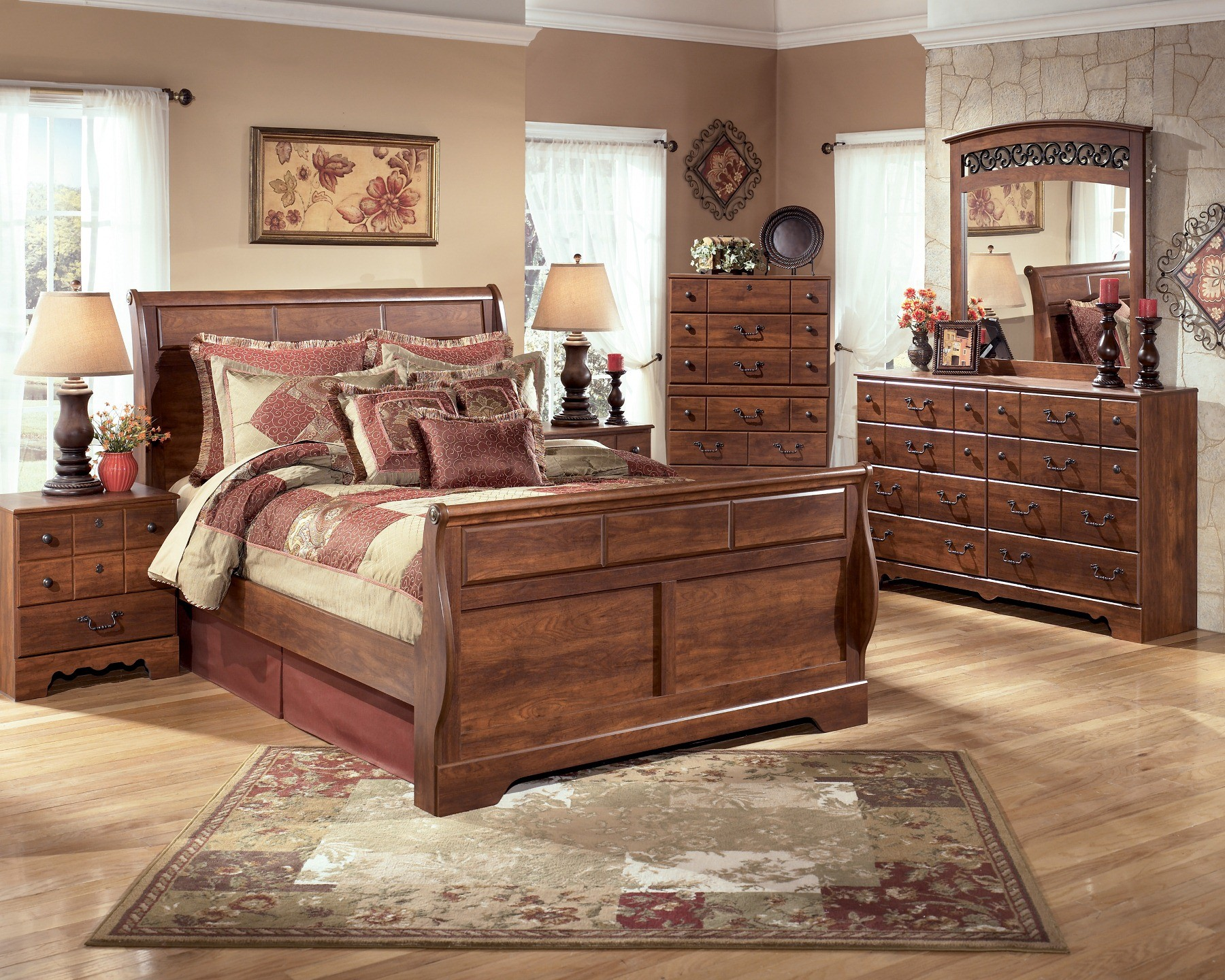 timberline queen sleigh bed from ashley b258 57 54 96 coleman furniture. Black Bedroom Furniture Sets. Home Design Ideas