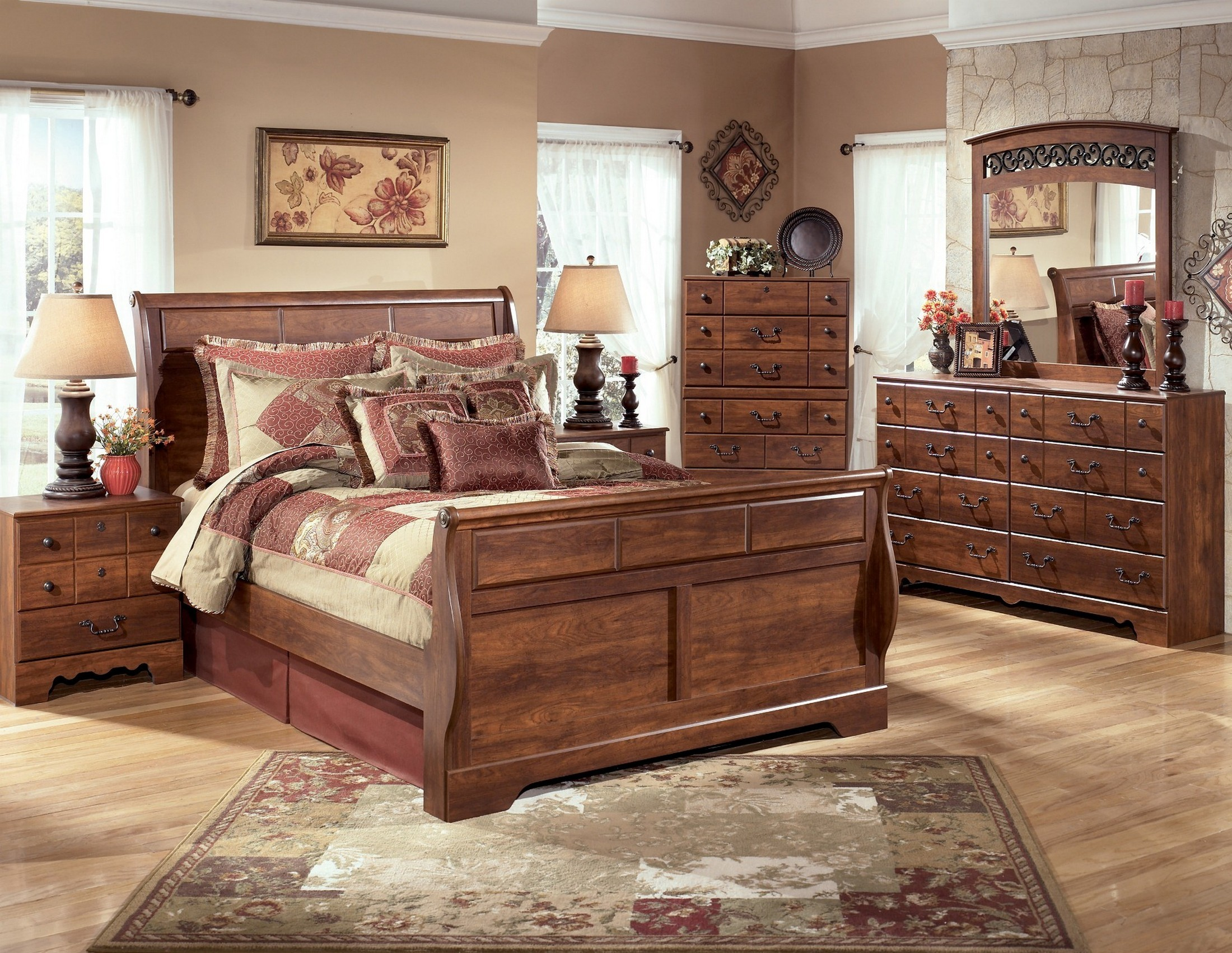 Timberline Sleigh Bedroom Set from Ashley (B258-SL) | Coleman ...
