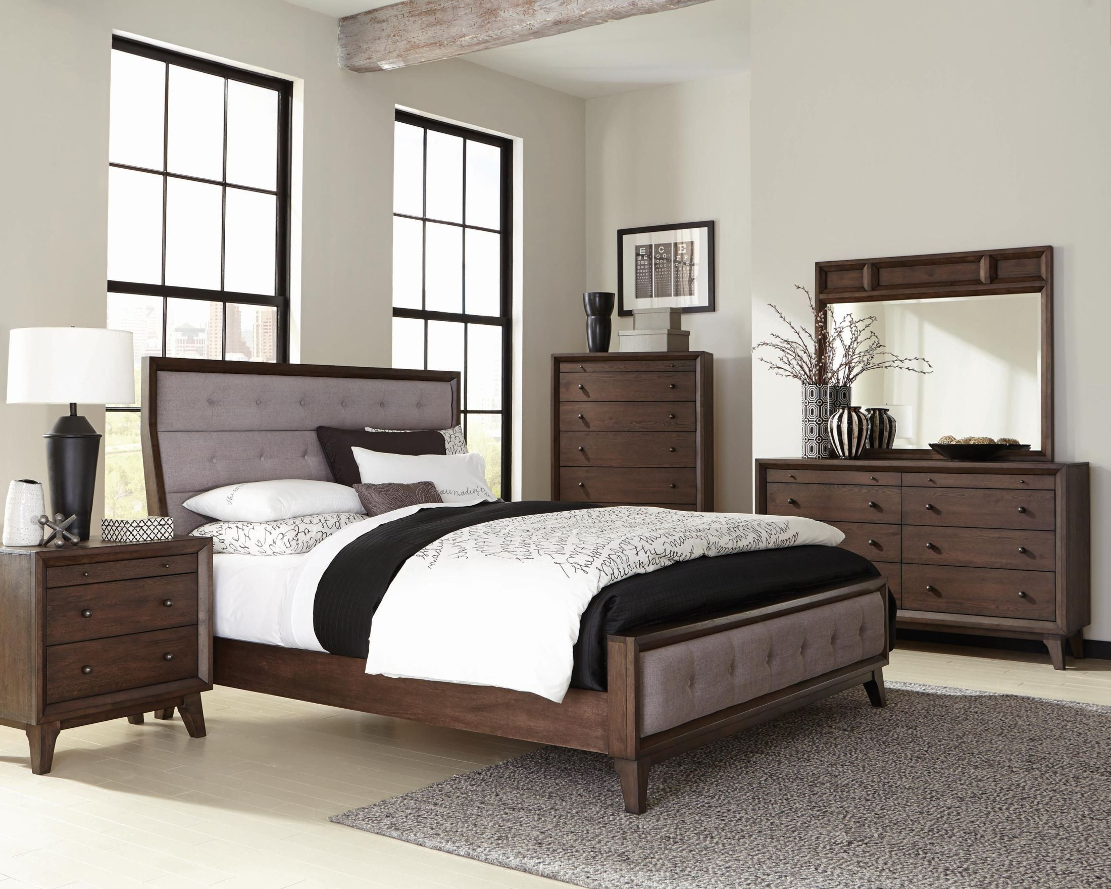 Bingham Brown Oak Panel Bedroom Set from Coaster