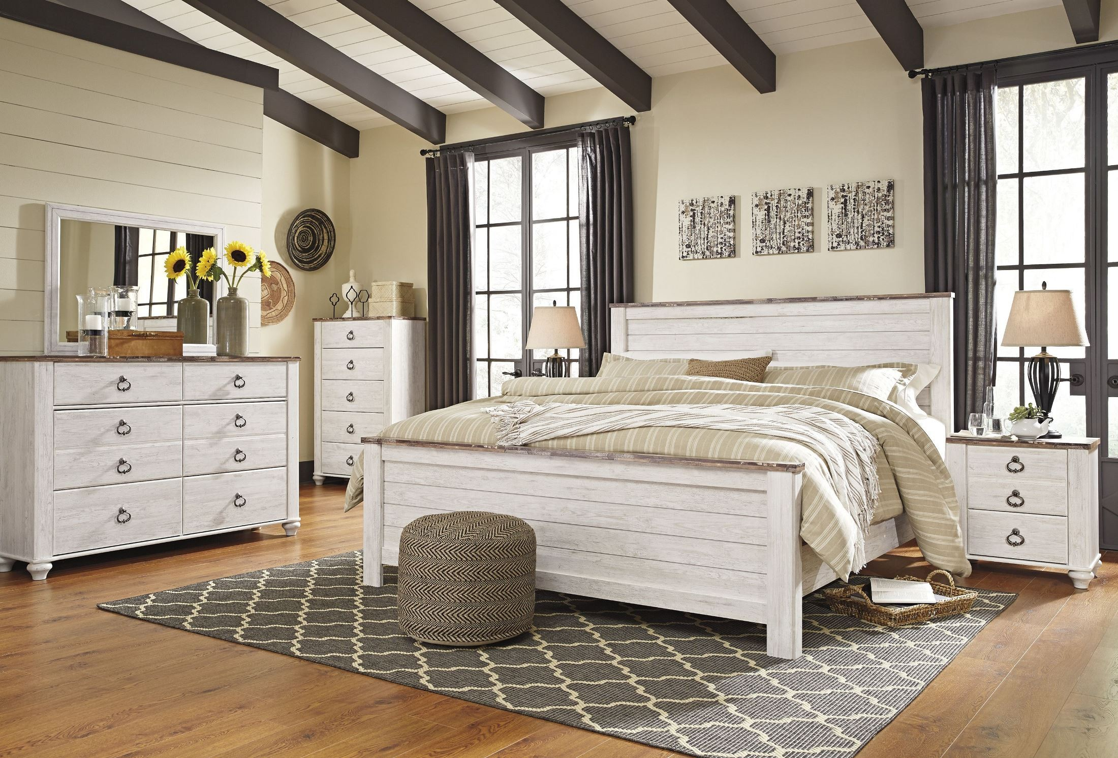 Willowton Whitewash Panel Bedroom Set From Ashley