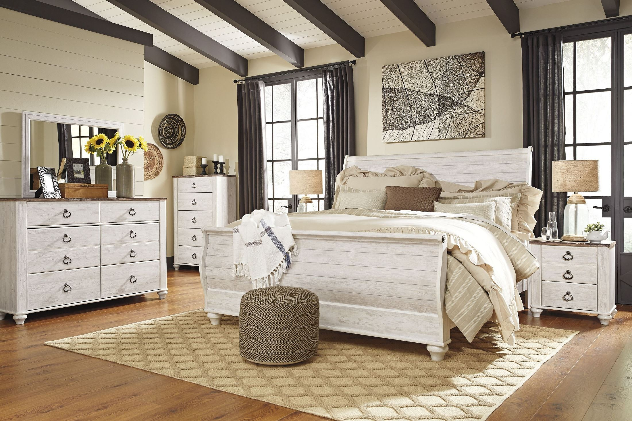 Willowton whitewash sleigh bedroom set from ashley - Ashley furniture bedroom packages ...