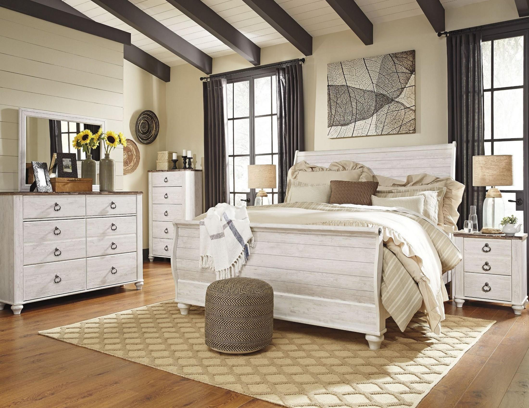 willowton whitewash sleigh bedroom set from ashley