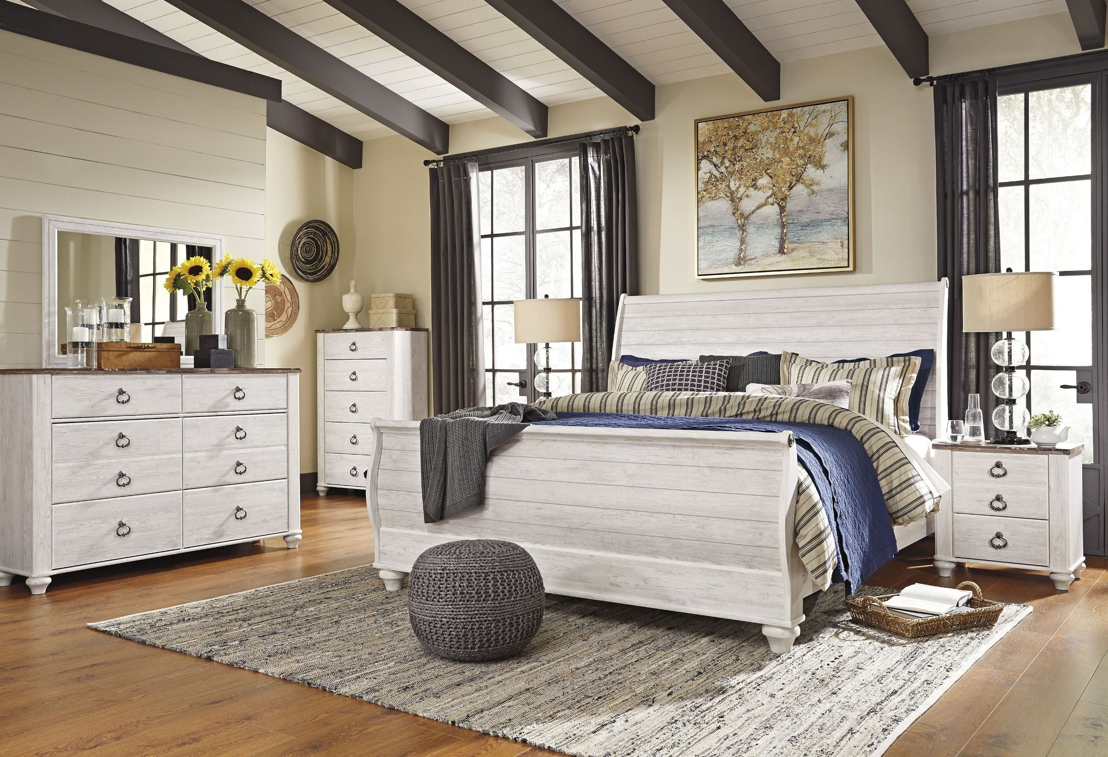 Willowton Whitewash King Sleigh Bed from Ashley | Coleman Furniture
