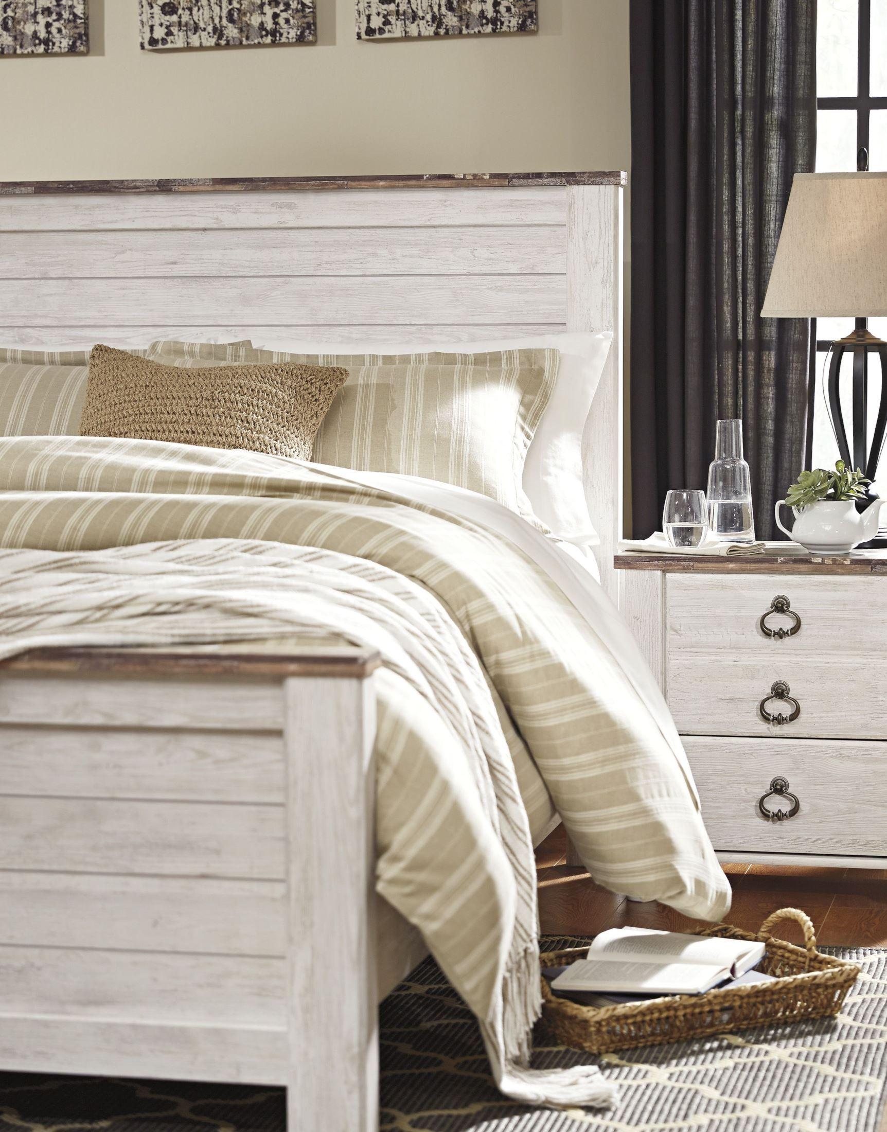 marvellous whitewash furniture bedroom set | Willowton Whitewash Panel Bedroom Set, B267-54-57-98, Ashley