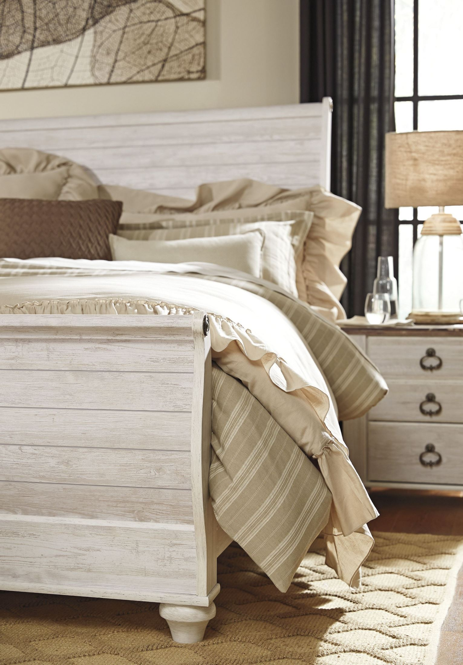 Willowton Whitewash Queen Sleigh Bed From Ashley Coleman