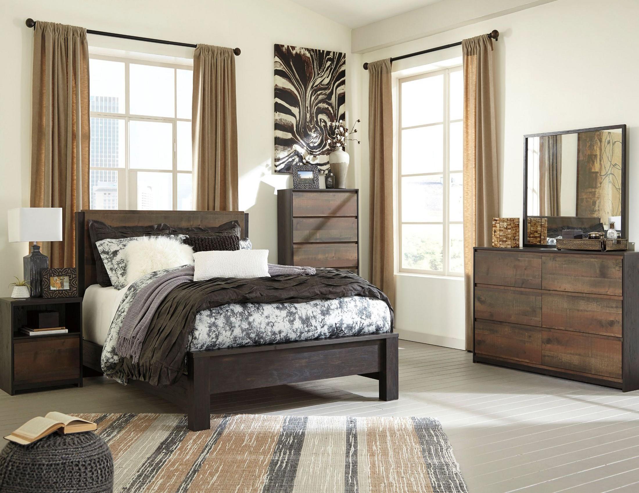 Windlore dark brown panel bedroom set from ashley for Dark brown bedroom furniture