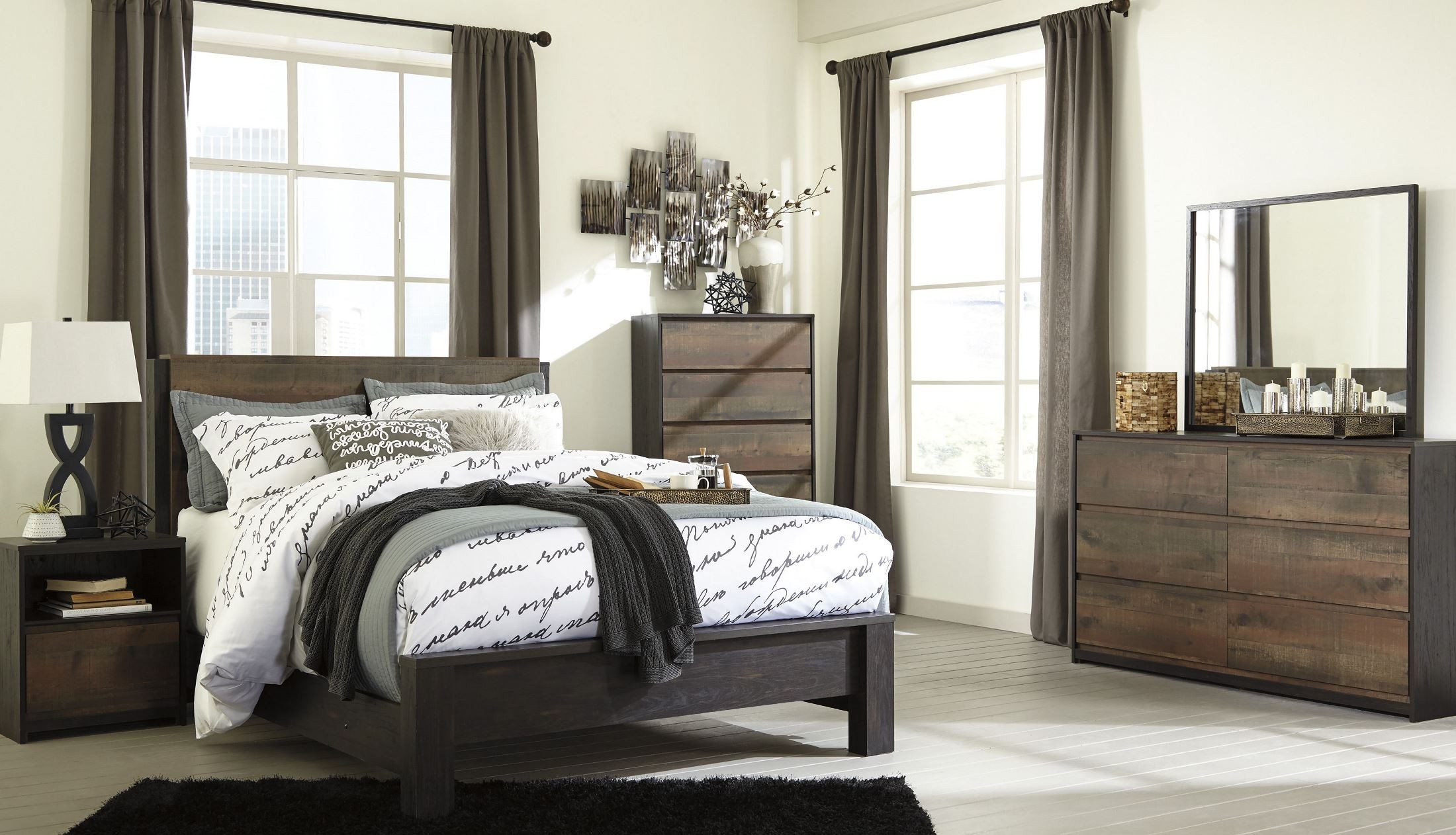 Windlore Dark Brown Panel Bedroom Set, B320-57-54-96, Ashley