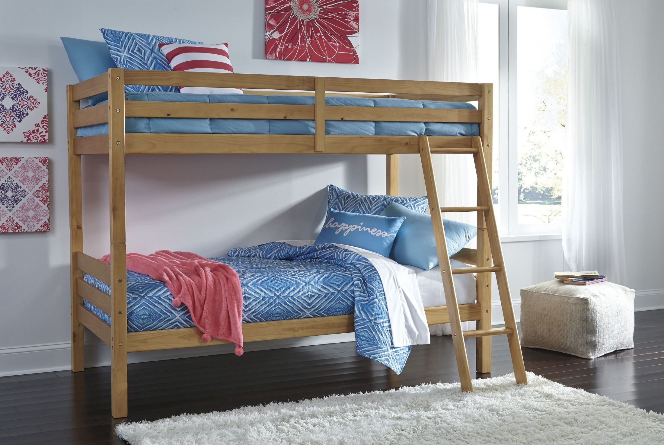 Hallytown Light Brown Twin Over Twin Bunk Bed With Ladder From Ashley