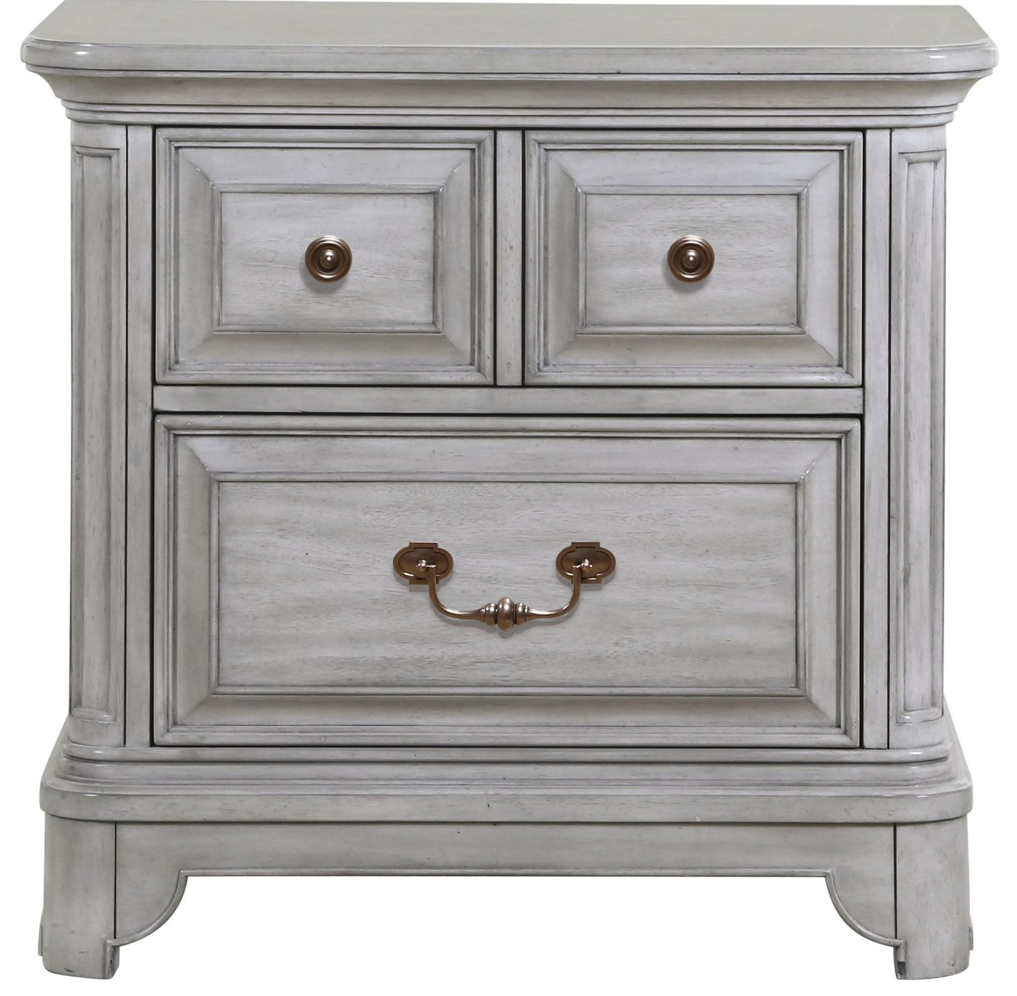 Windsor Lane Weathered Grey Wood Drawer Nightstand From