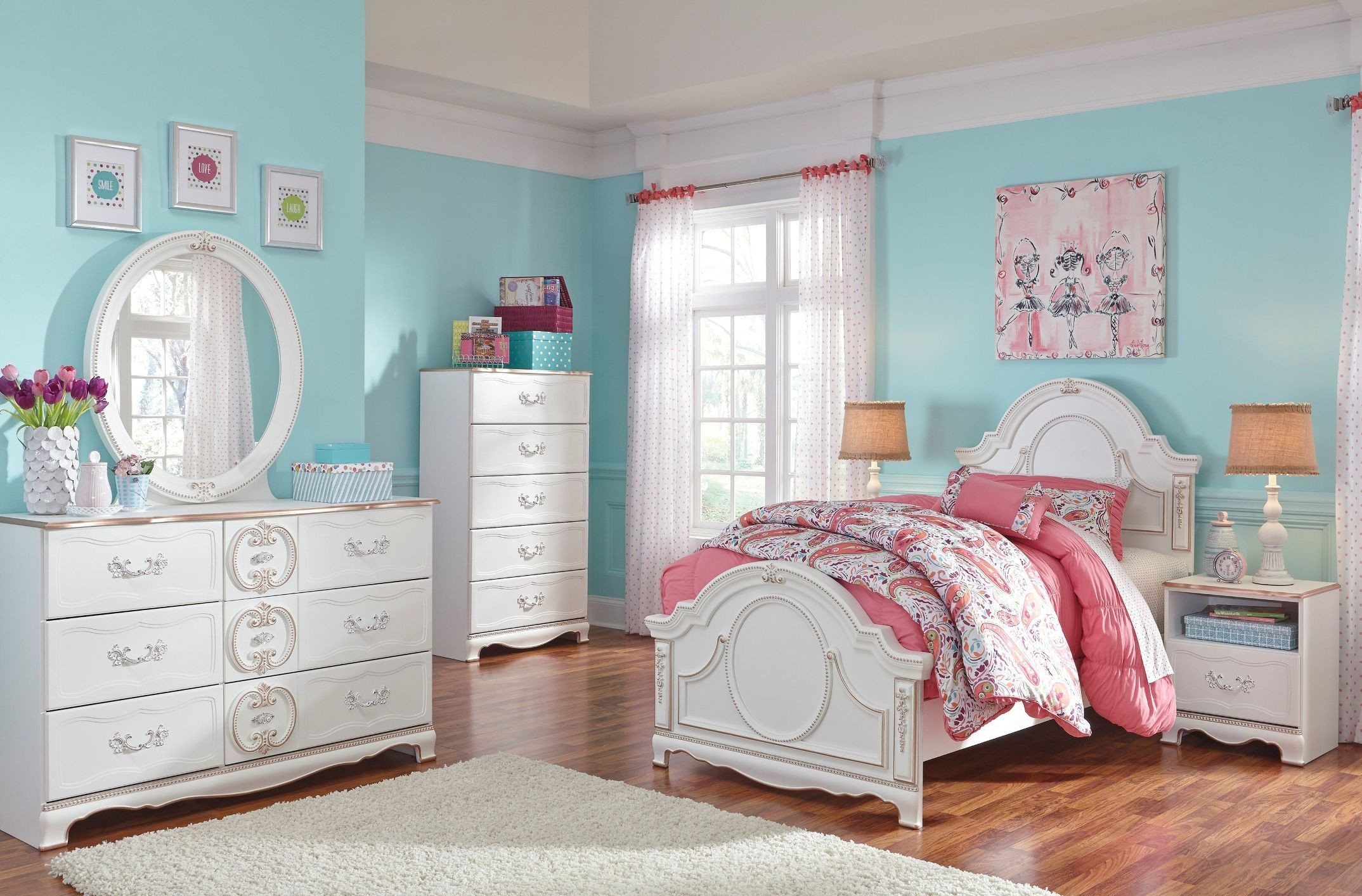 korabella white youth panel bedroom set from ashley b355 13894 | b355 21 26 46 53 52 83 91