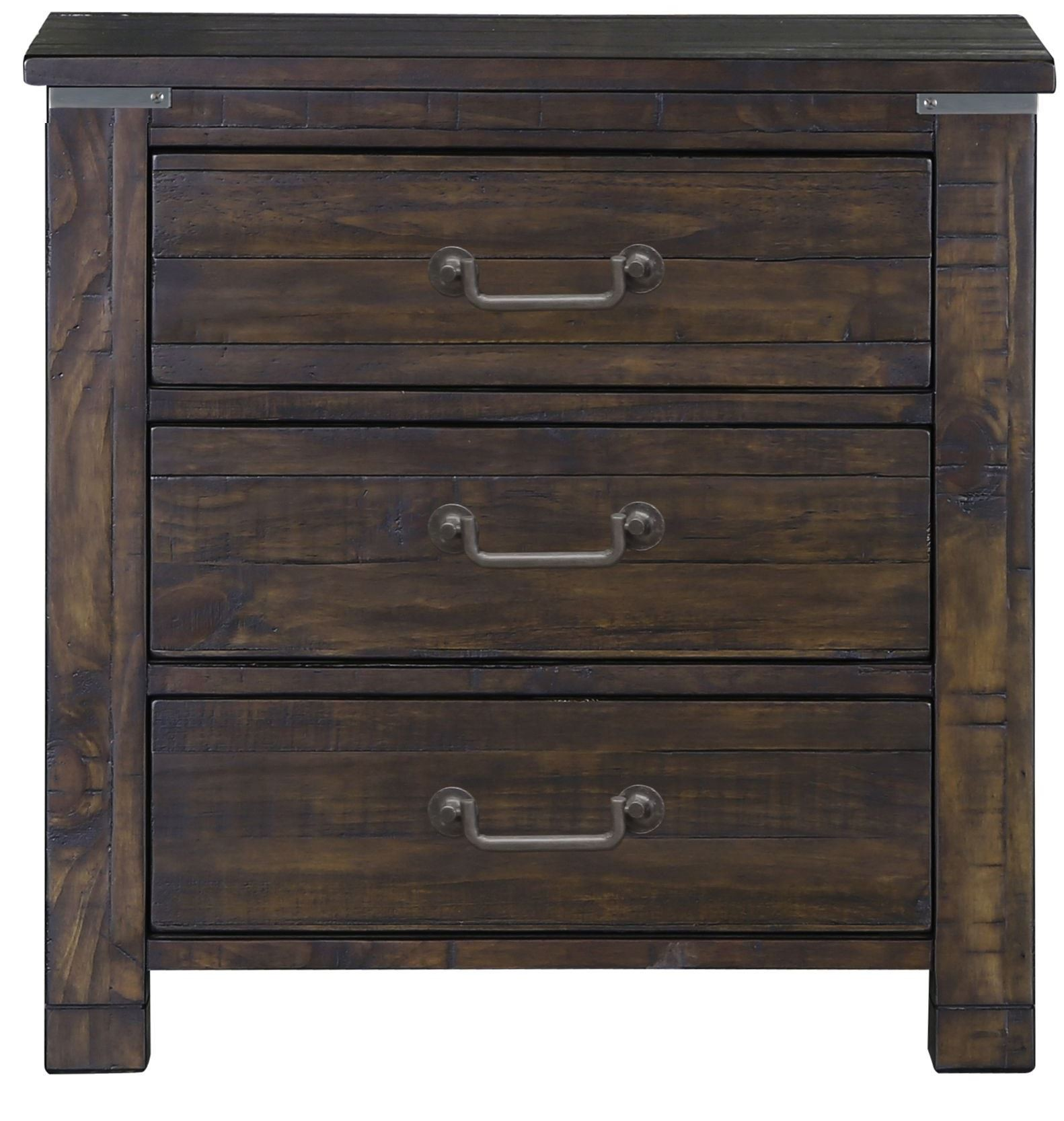 Pine Hill Rustic Pine Wood Drawer Nightstand From