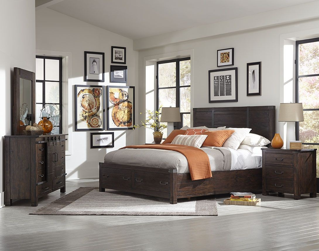 Pine hill rustic pine panel bedroom set b3561 54h 54f 54r - White and pine bedroom furniture ...