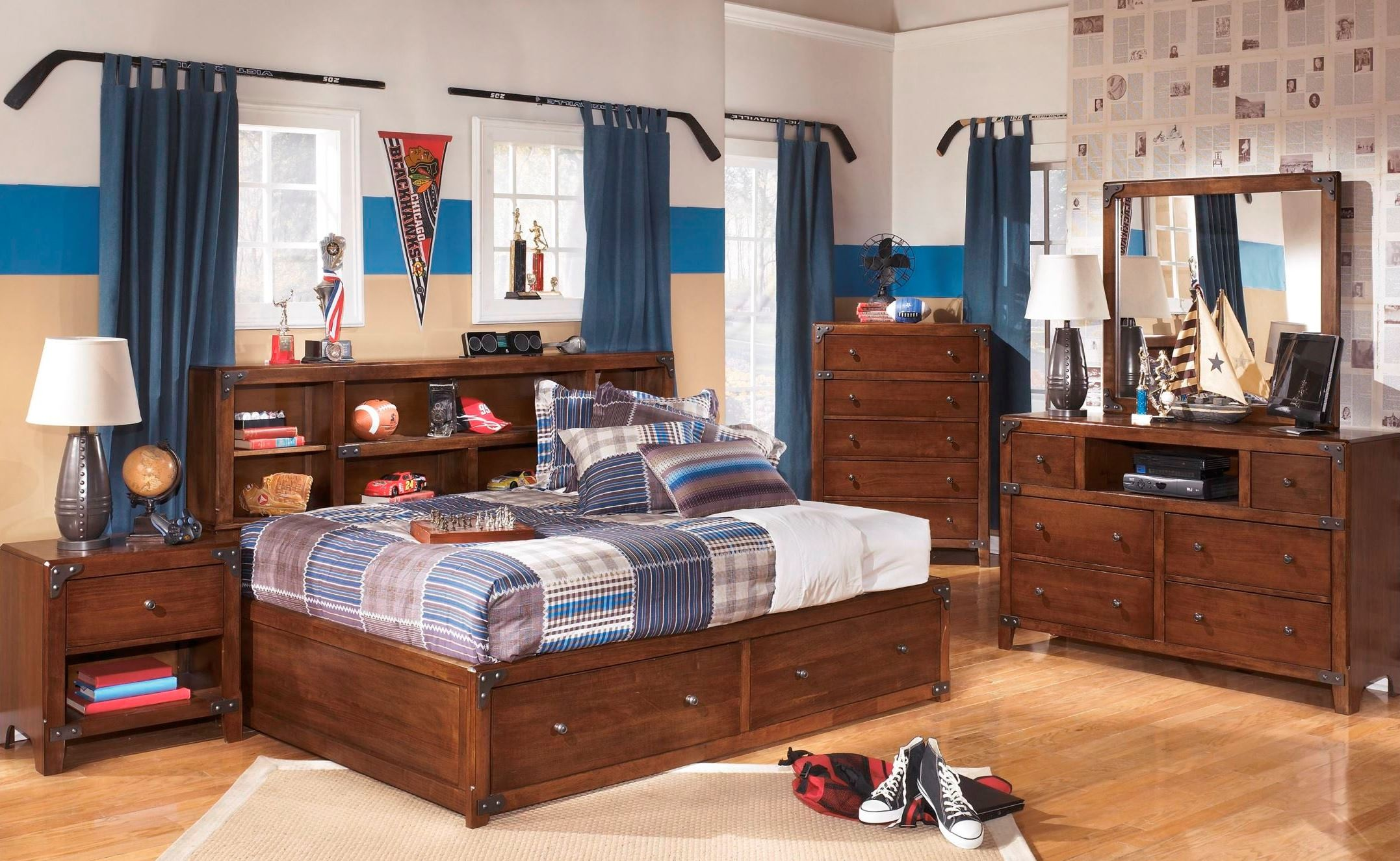 Delburne youth bookcase storage bedroom set from ashley - Youth bedroom furniture with storage ...
