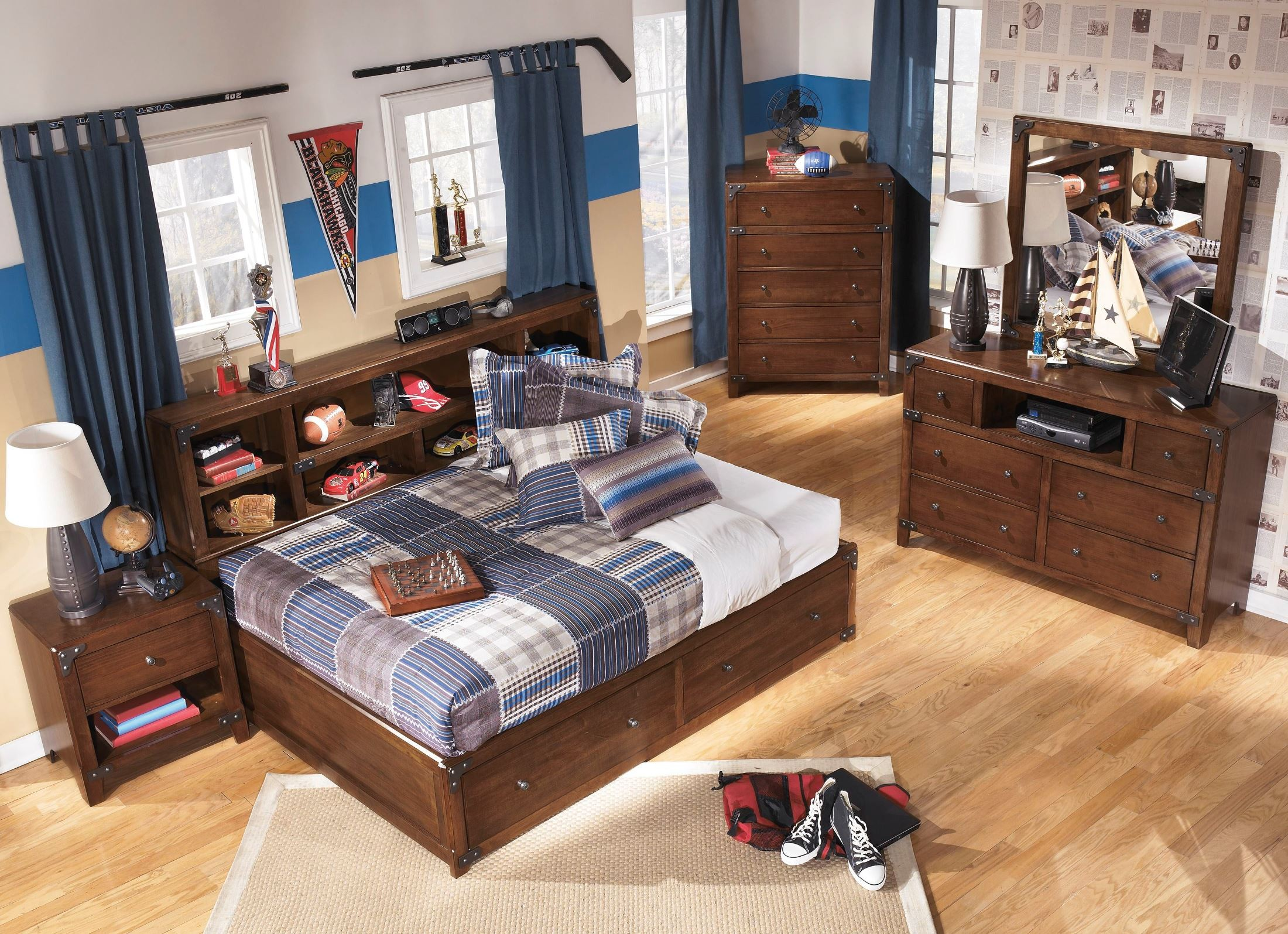 twin full trinell bed bedroom bookcase ashley set brown