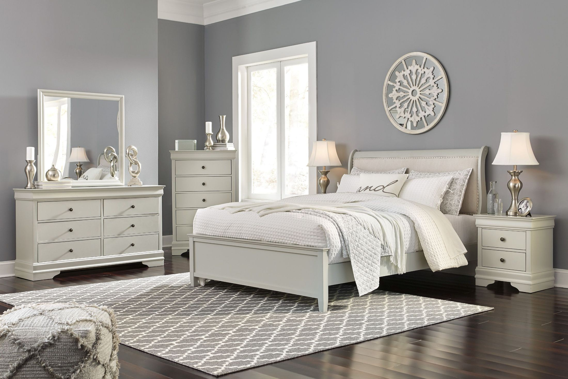 Jorstad Gray Upholstered Sleigh Bedroom Set from Ashley