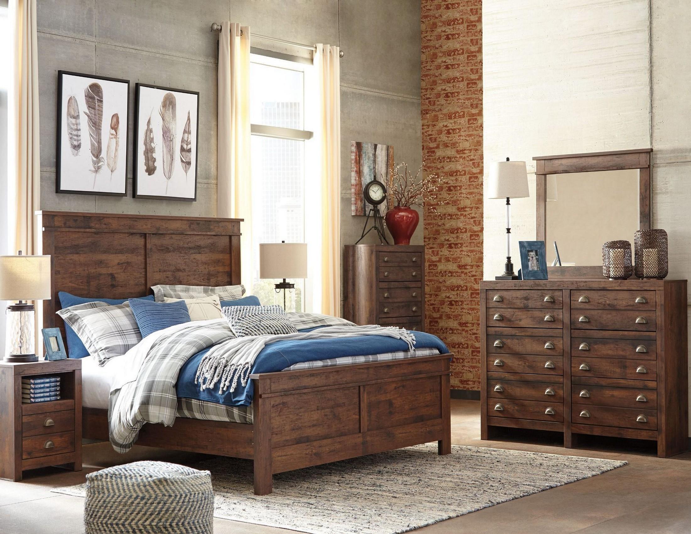 hammerstead brown panel bedroom set from ashley | coleman furniture