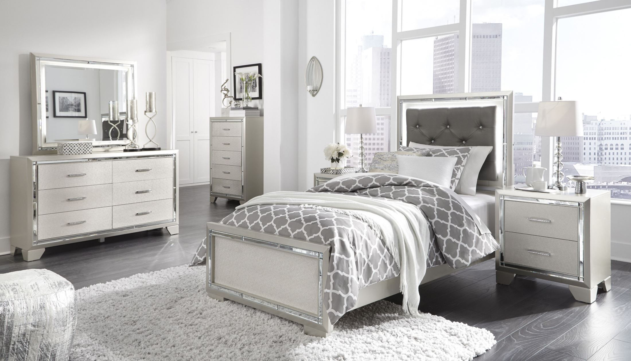lonnix silver youth upholstered panel bedroom set from