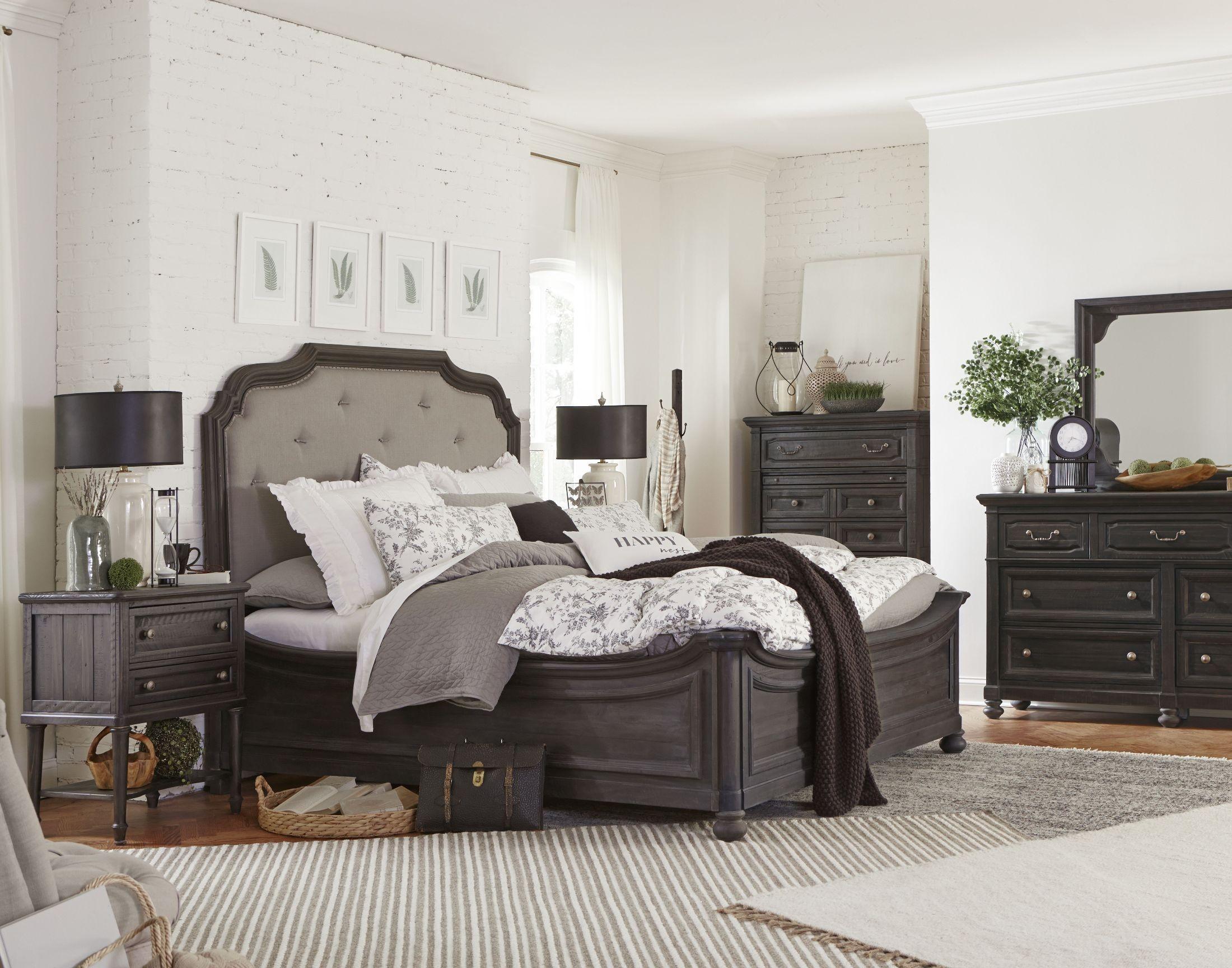 Bedford Corners Black Upholstered Island Bedroom Set From Magnussen Home |  Coleman Furniture