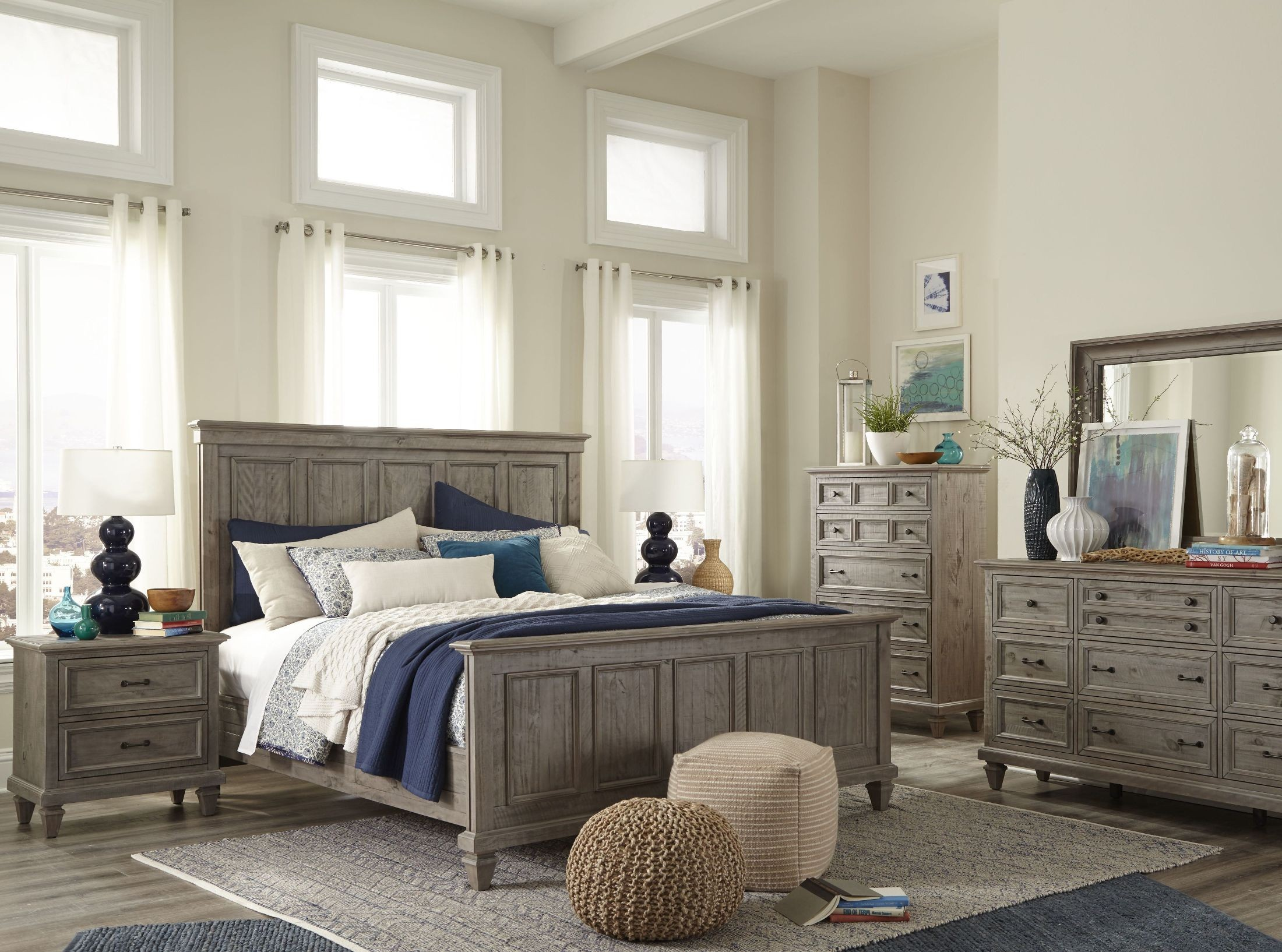 Lancaster Dovetail Grey Panel Bedroom Set From Magnussen Home Coleman Furniture