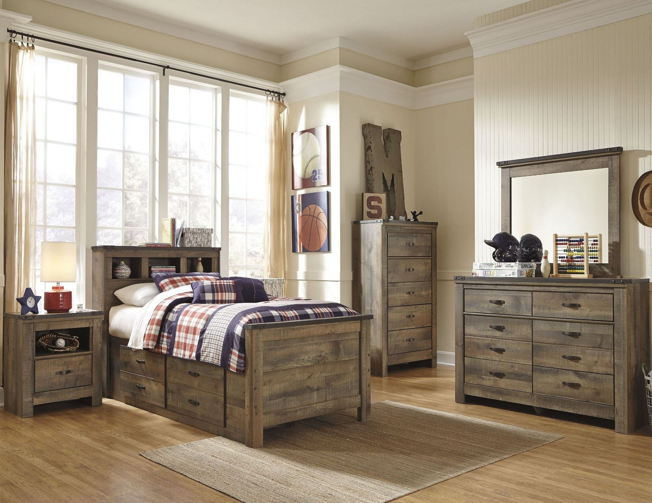 Trinell brown youth bookcase storage bedroom set from ashley coleman furniture for Youth storage bedroom furniture