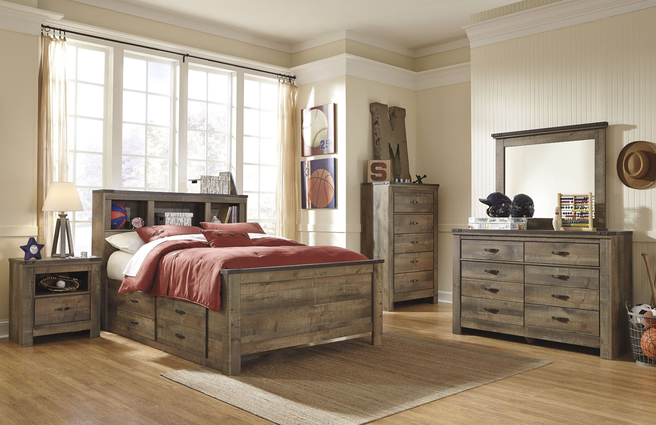 trinell brown full bookcase storage bed from ashley coleman