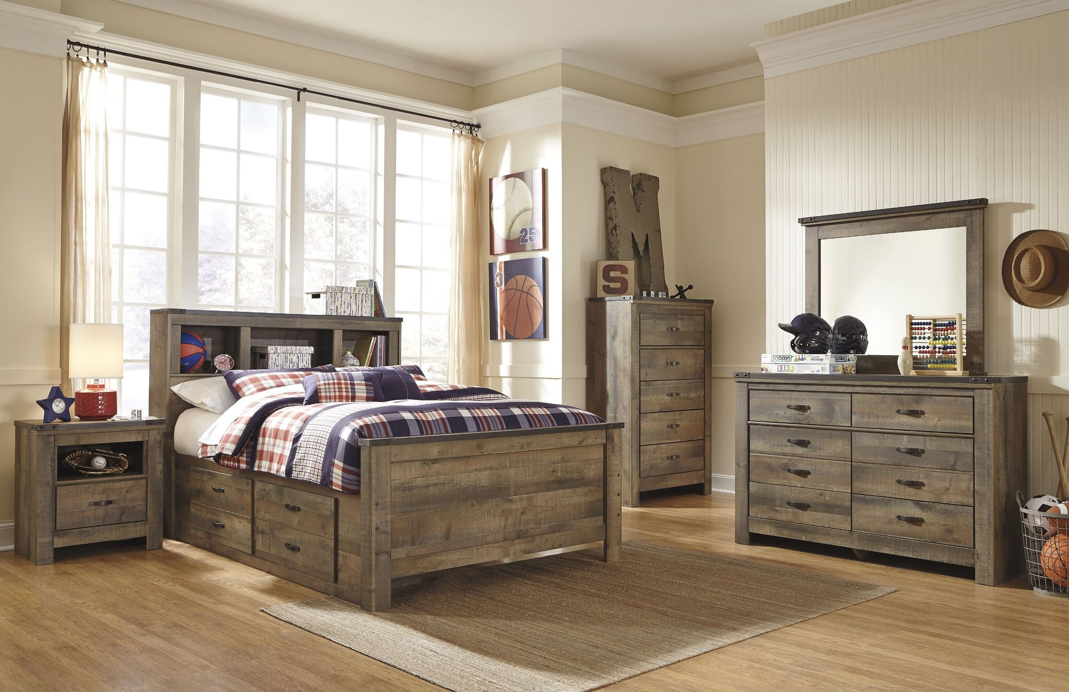Trinell brown full bookcase storage bed from ashley - Ashley furniture full bedroom sets ...