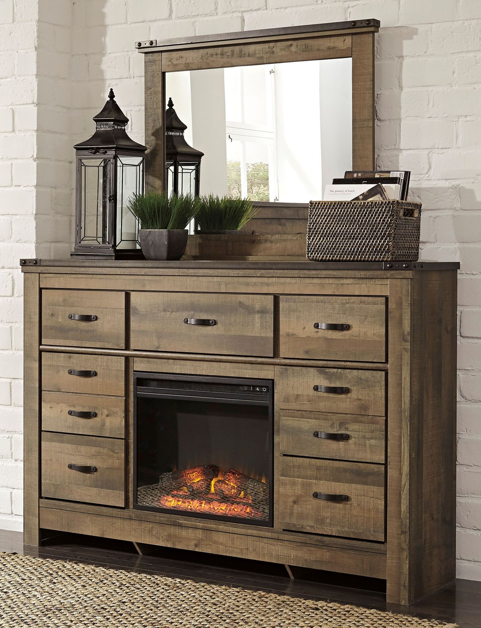 Trinell dresser with fireplace option from ashley b446 32 for Fireplace options
