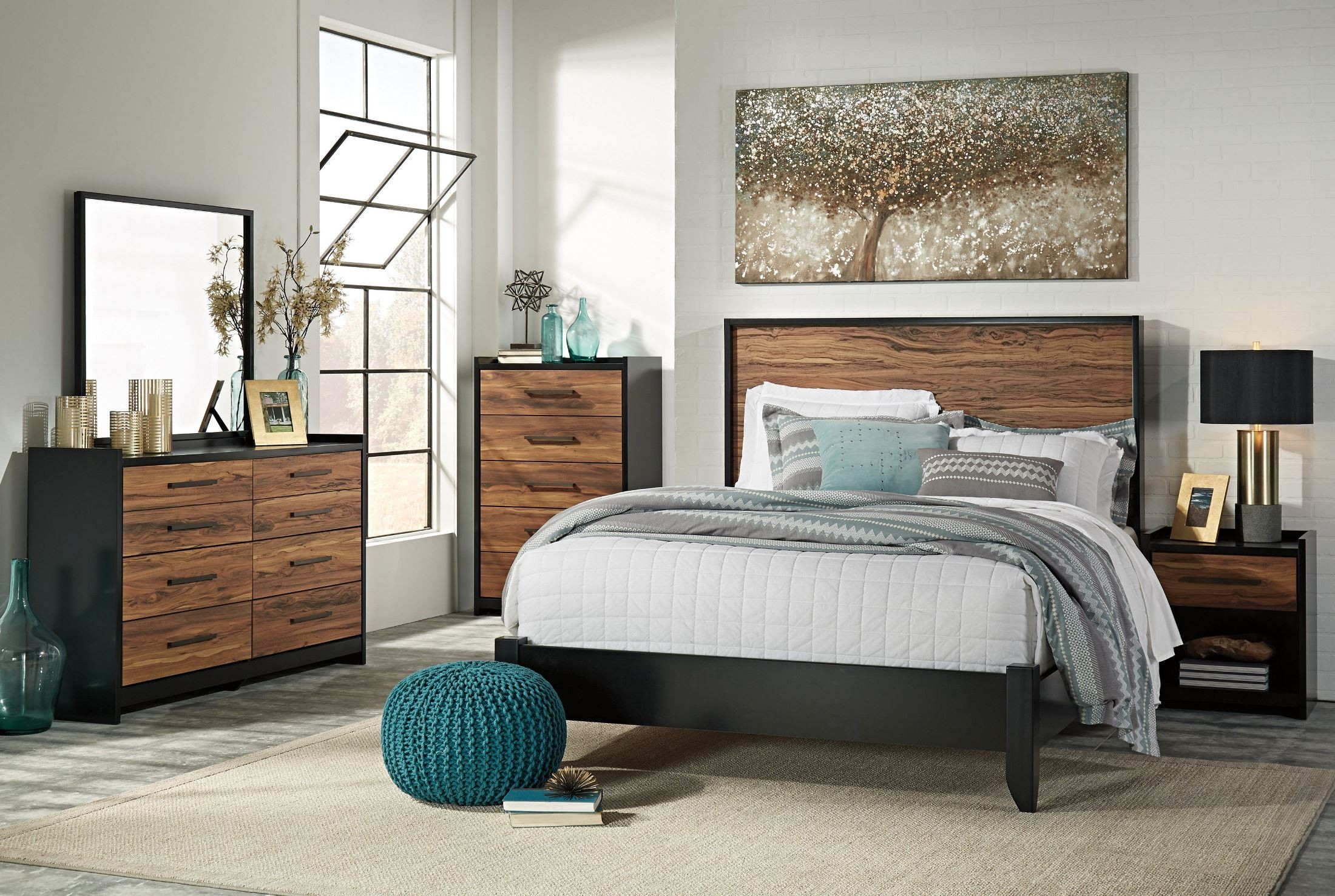 Stavani Black and Brown Panel Bedroom Set from Ashley | Coleman ...