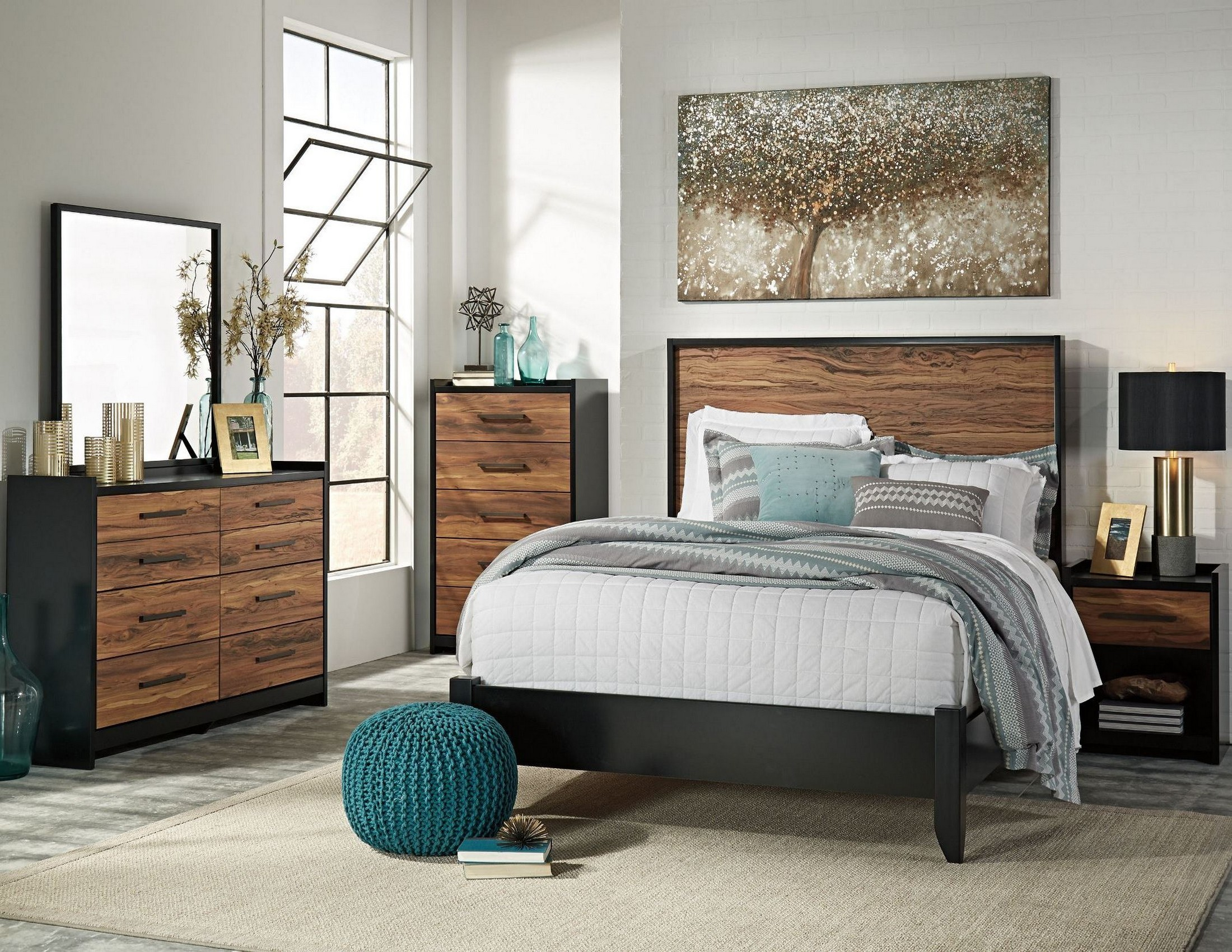 Stavani black and brown panel bedroom set from ashley coleman furniture for Black brown bedroom furniture